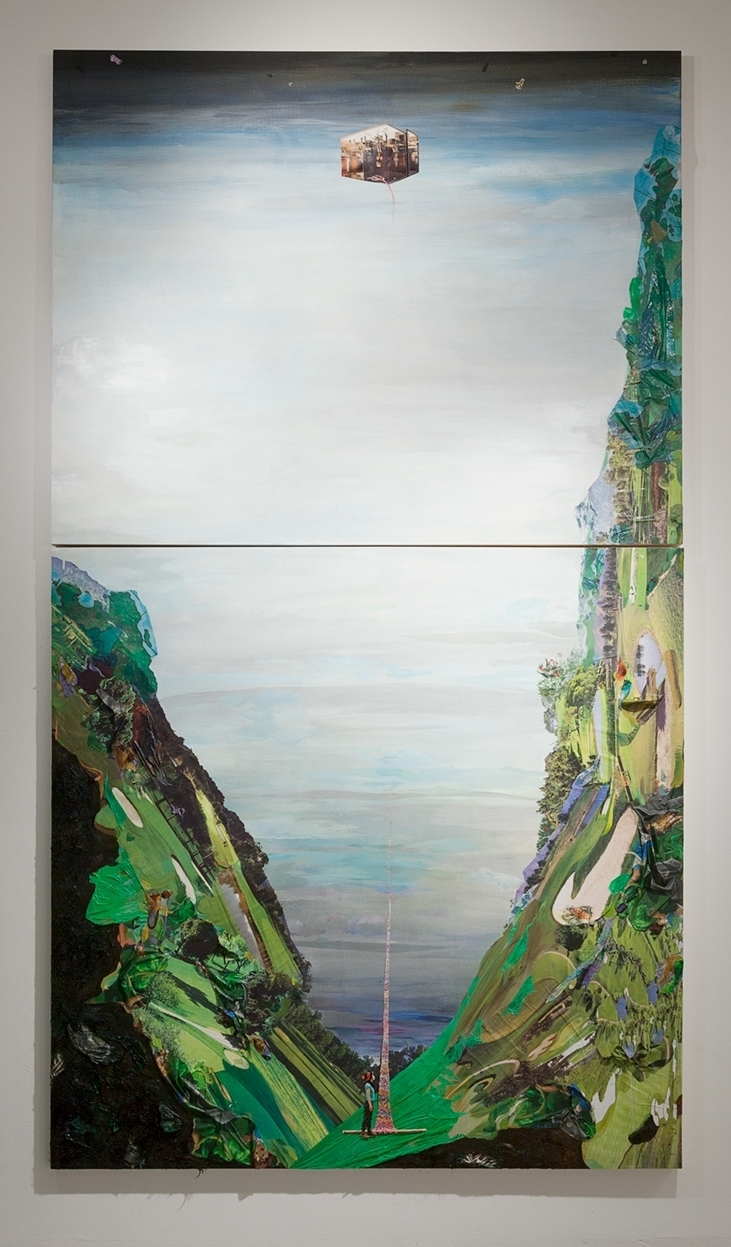 Buried High in Heaven: Journey through nine antinomicrealms , 2015, Oil, photos,plastic tablecloth, golf course calendars, and hair on board, 108 x 48 inches