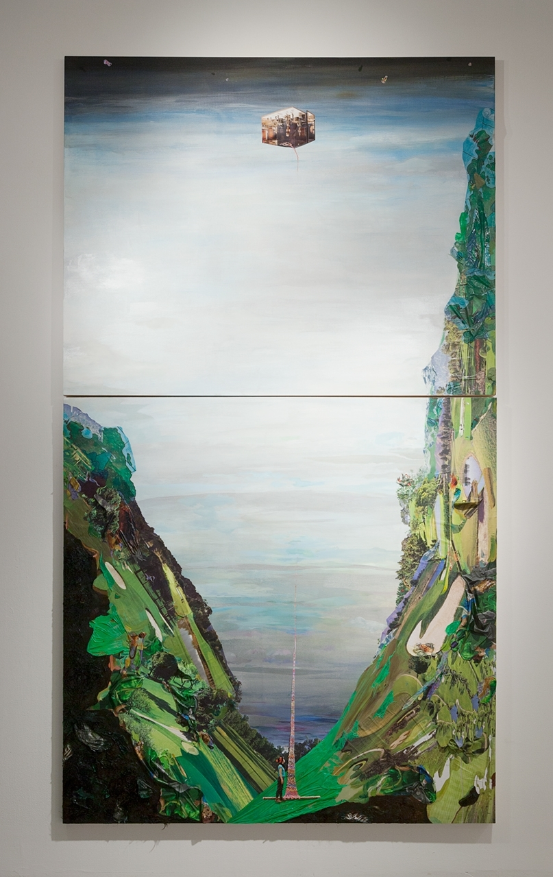 Buried High in Heaven: Journey through nine antinomicrealms , 2015, Oil, photos,plastic tablecloth, golf course calendars, stickersand hair on panel, 108 x 48 inches