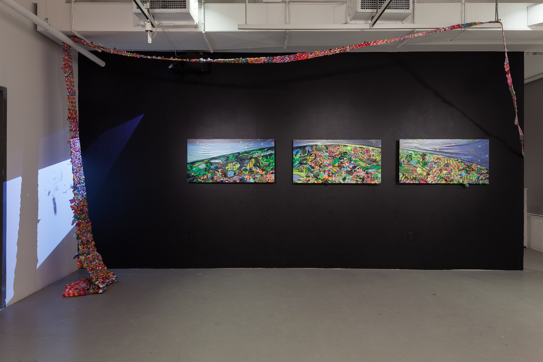 Screening for Adhesive Ancestors (  triptych) , 2015, oil, plastic, photo collage, and stickerson three wood panels