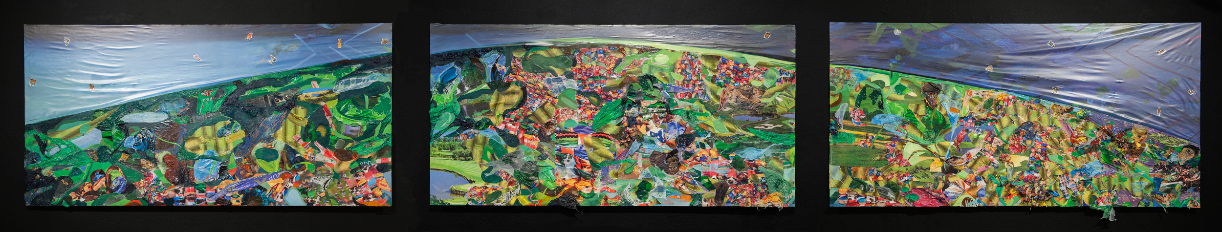 Screening for Adhesive Ancestors, 2015, oil, acrylic, plastic tablecloths, vinyl drawer liner, photos and stickers on wood panel, 24 x 108 x 4 inches