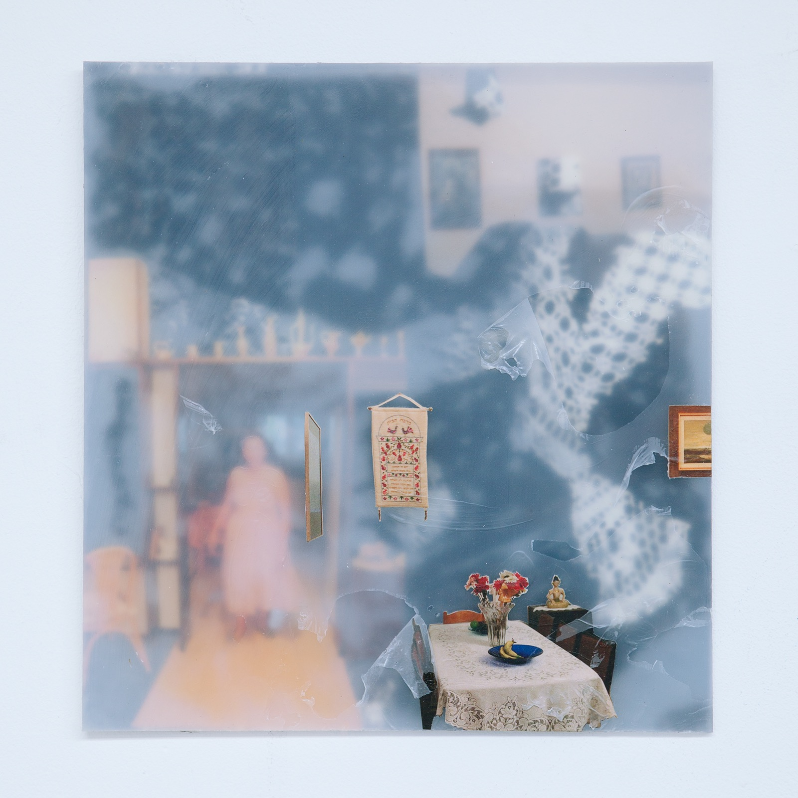 Manang'sMezuzah, 2014, monotype, collage, photographs, plastic, plexiglass, 14 x 13 inches