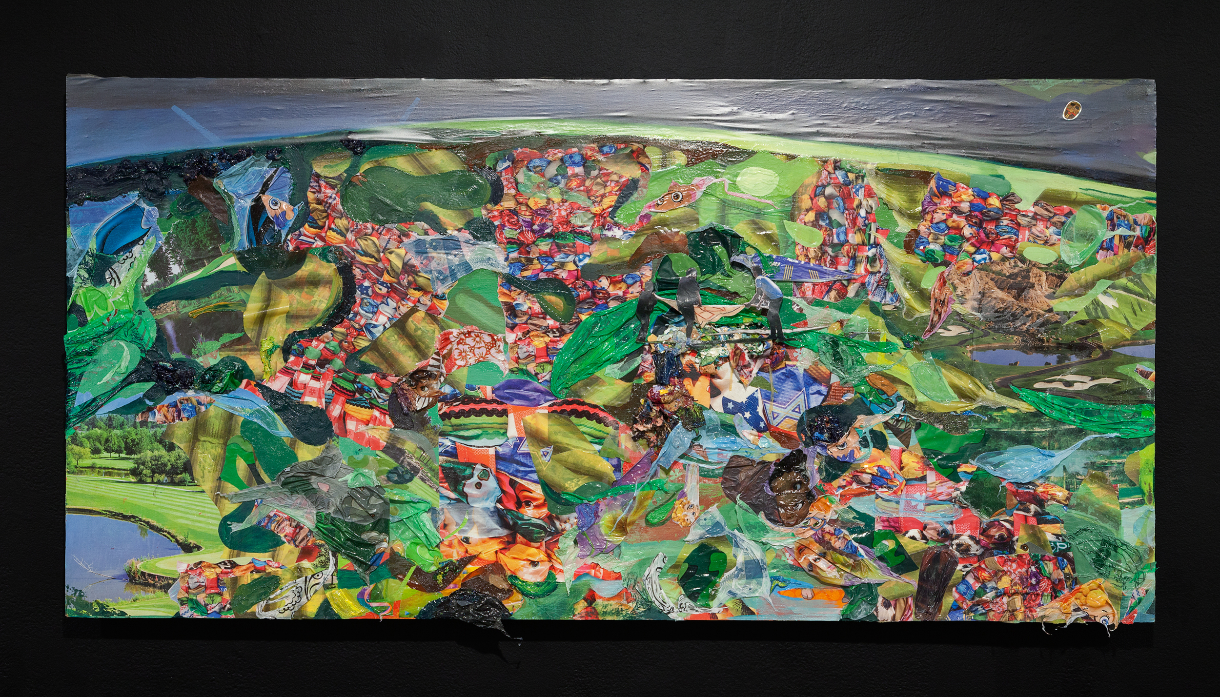 Screening for Adhesive Ancestors  (Detail),2015, oil, acrylic, plastic tablecloths, vinyl drawer liner, photos and stickers on wood panel, 24 x 108 x 4 inches