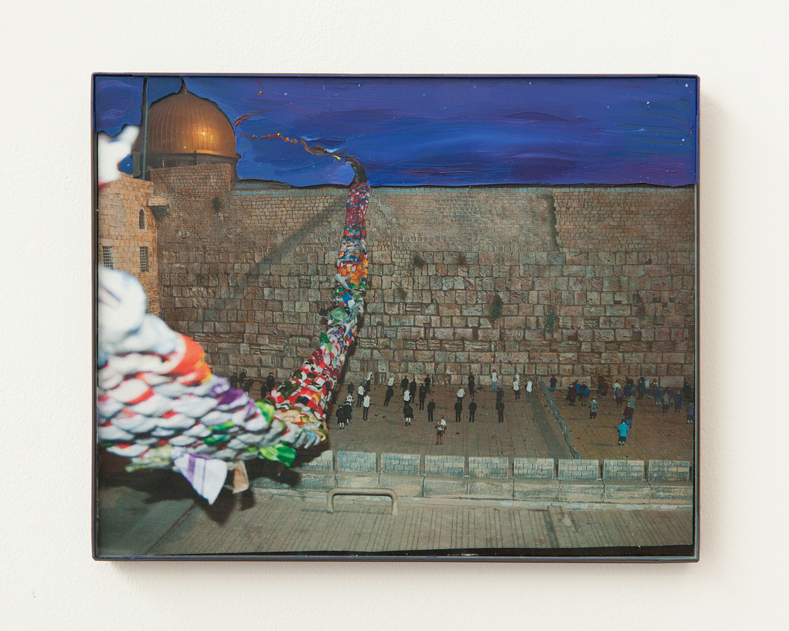 """2014, photograph of """"Western Wall"""" diorama installation, glass, frame, oil, pencil, 8 x 10 inches"""