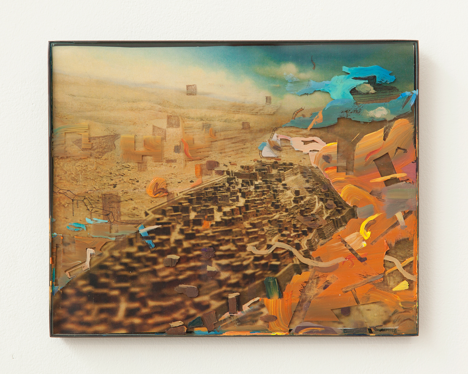 """2014, photograph of """"City of David"""" diorama, glass, frame, oil, pencil, ink, 8 x 10 inches"""