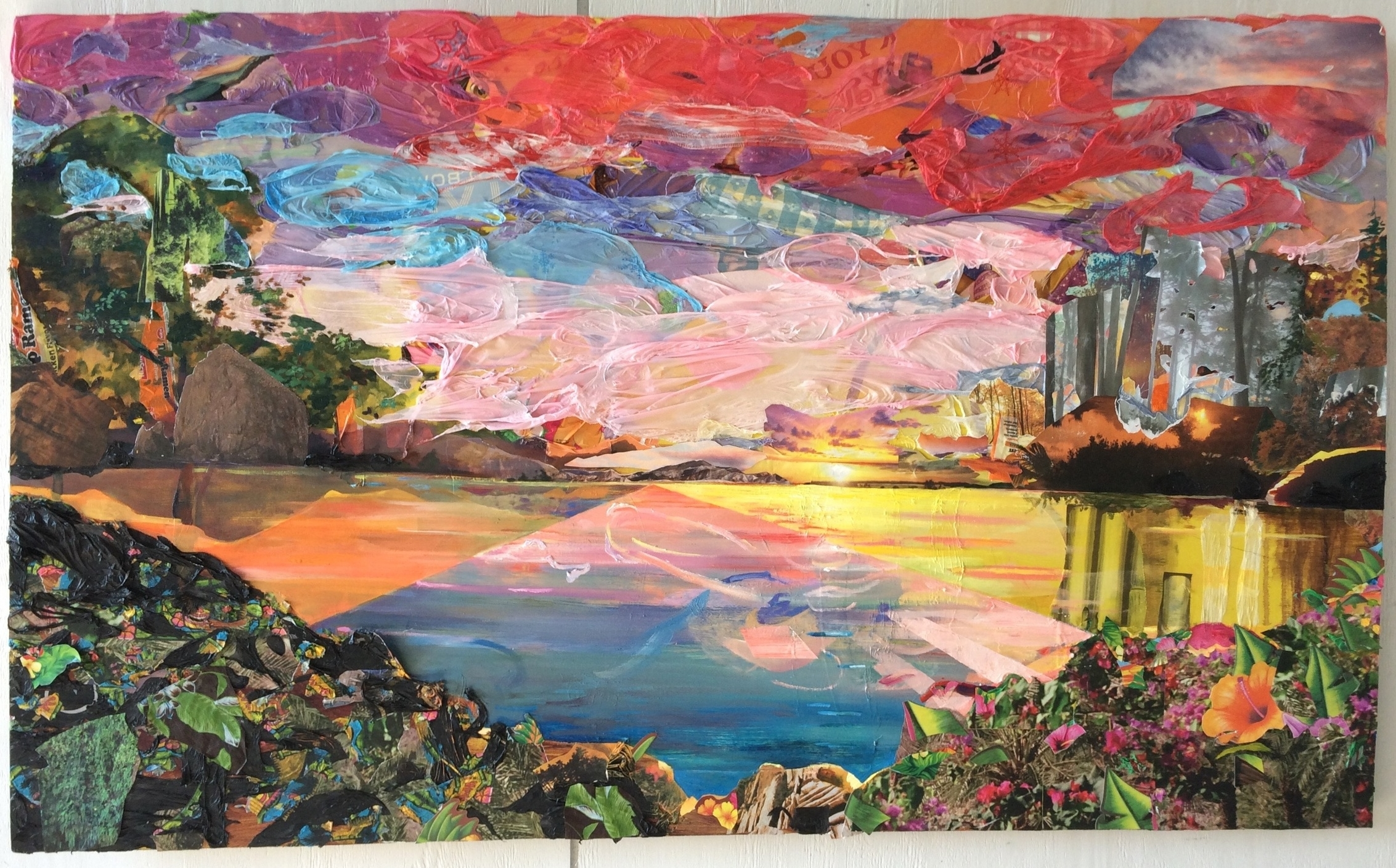 Sunset for Fred Church , 2016, acrylic, oil,plastic tablecloths, nature calendars, Top Ramen packaging, tiki party favors, plastic bag,and photos on board, 36 x 60 x 2 inches