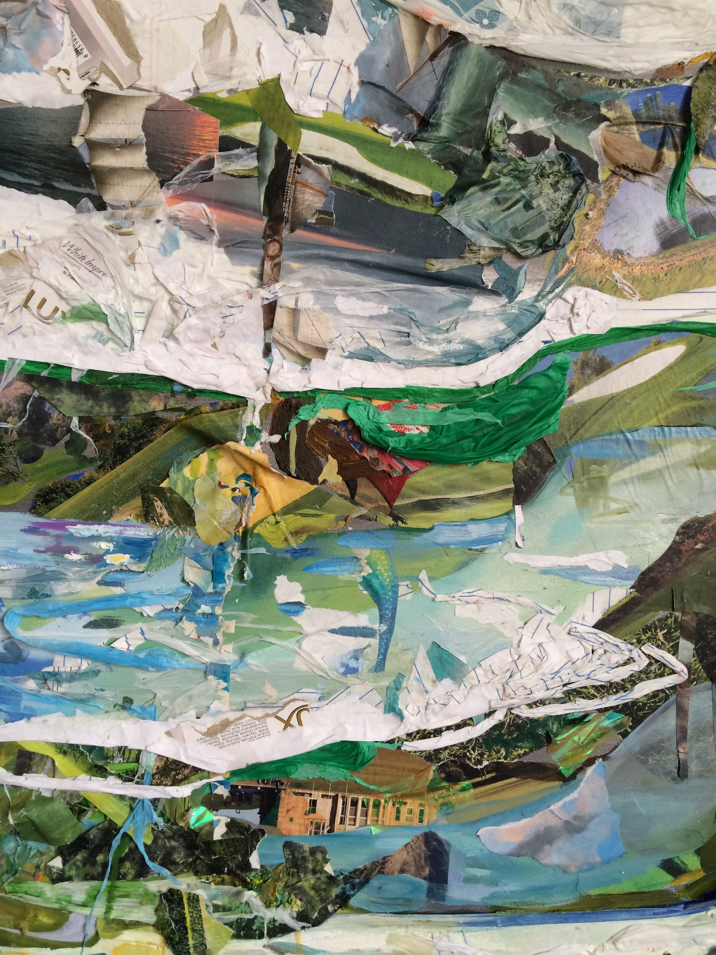 Tiers  (detail) , 2015, oil, notebook paper, golf course calendars, skin whitening soap boxes, photos, and plastic on board, 48 x 60 inches