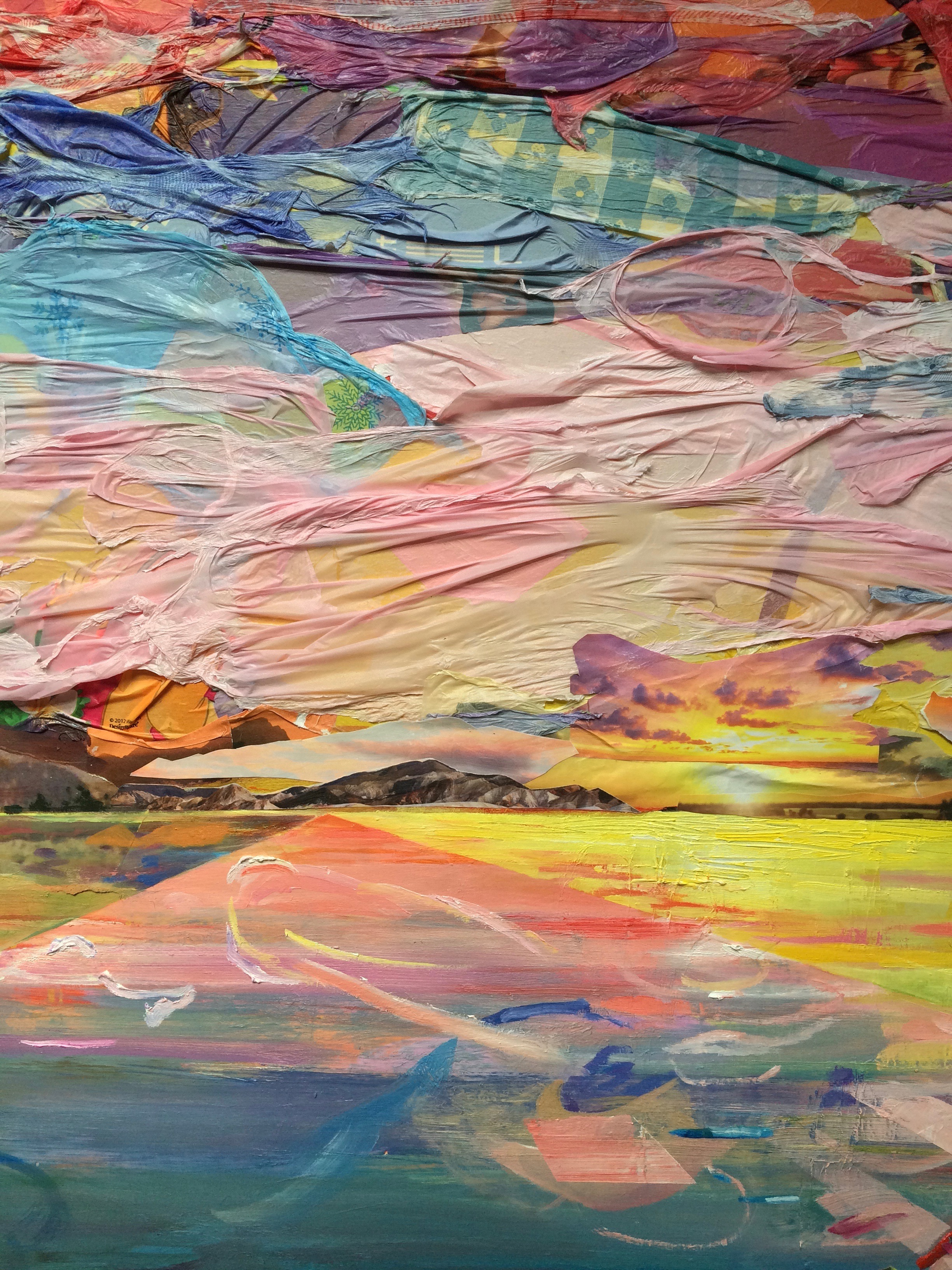 Sunset for Fred Church  (detail) , 2016, acrylic, oil,plastic tablecloths, nature calendars, Top Ramen packaging, tiki party favors, plastic bag,and photos on board, 36 x 60 x 2 inches