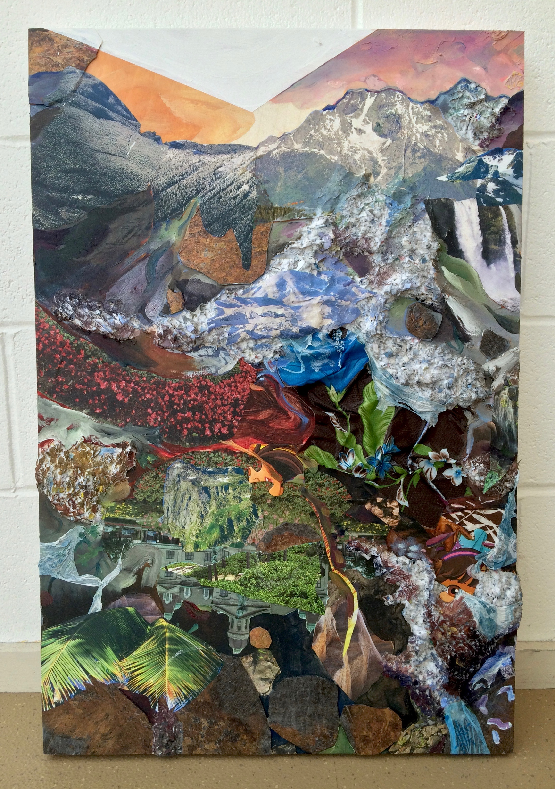 Everywhere I Want to See ,2016, oil, acrylic, nature calendars, linoleum, credit card bills, paycheck stubs, plastic tablecloths, and puzzle pieces on wood panel, 30 x 20 x 2 inches