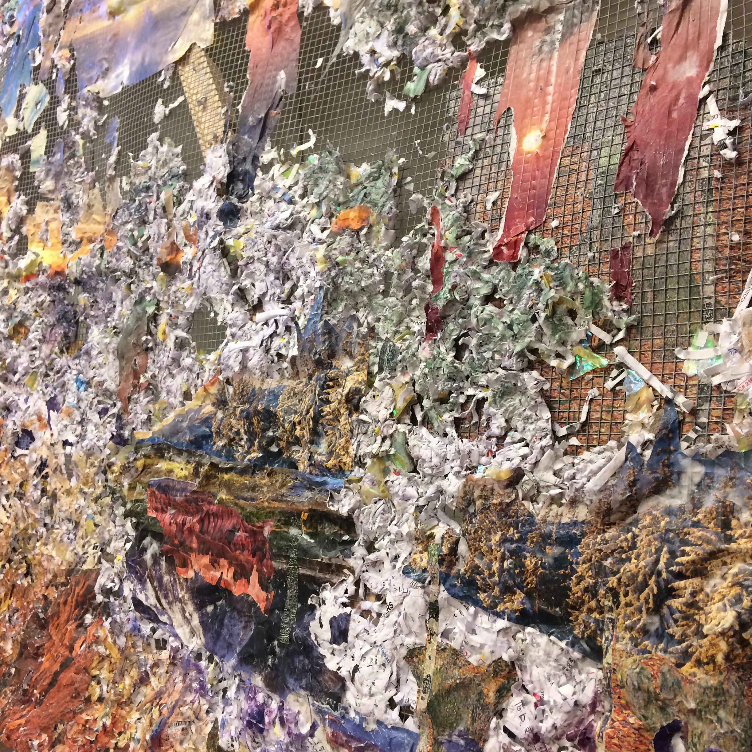 How Do I Raise the Ground Where I Land  (detail) , 2017,Medical records, Banig print wallpaper, puzzle pieces, nature calendars, Dollar Tree and Subway bag, acrylic and oil on chicken wire and wood, 38 x 60 x 4 inches