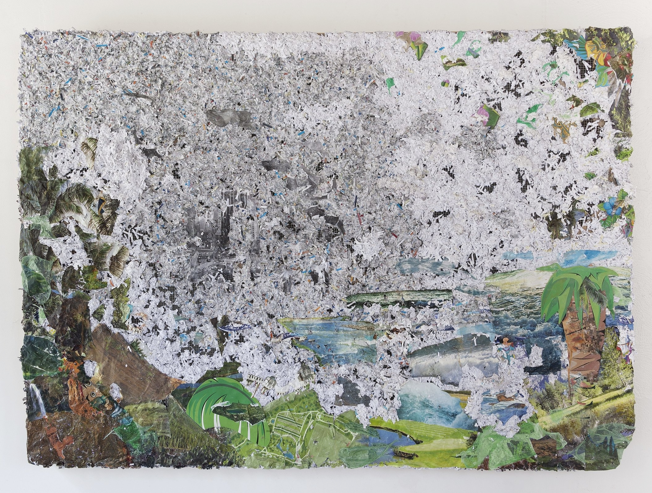 Landing (Mist Parts Over Columbus Circle) , 2017, medical records, credit card offers, tiki decorations, nature calendars, plastic tablecloths, plastic bags, Dora the Explorer puzzle pieces, photo, maps and oil on chicken wire and wood, 48 x 66 x 4 inches