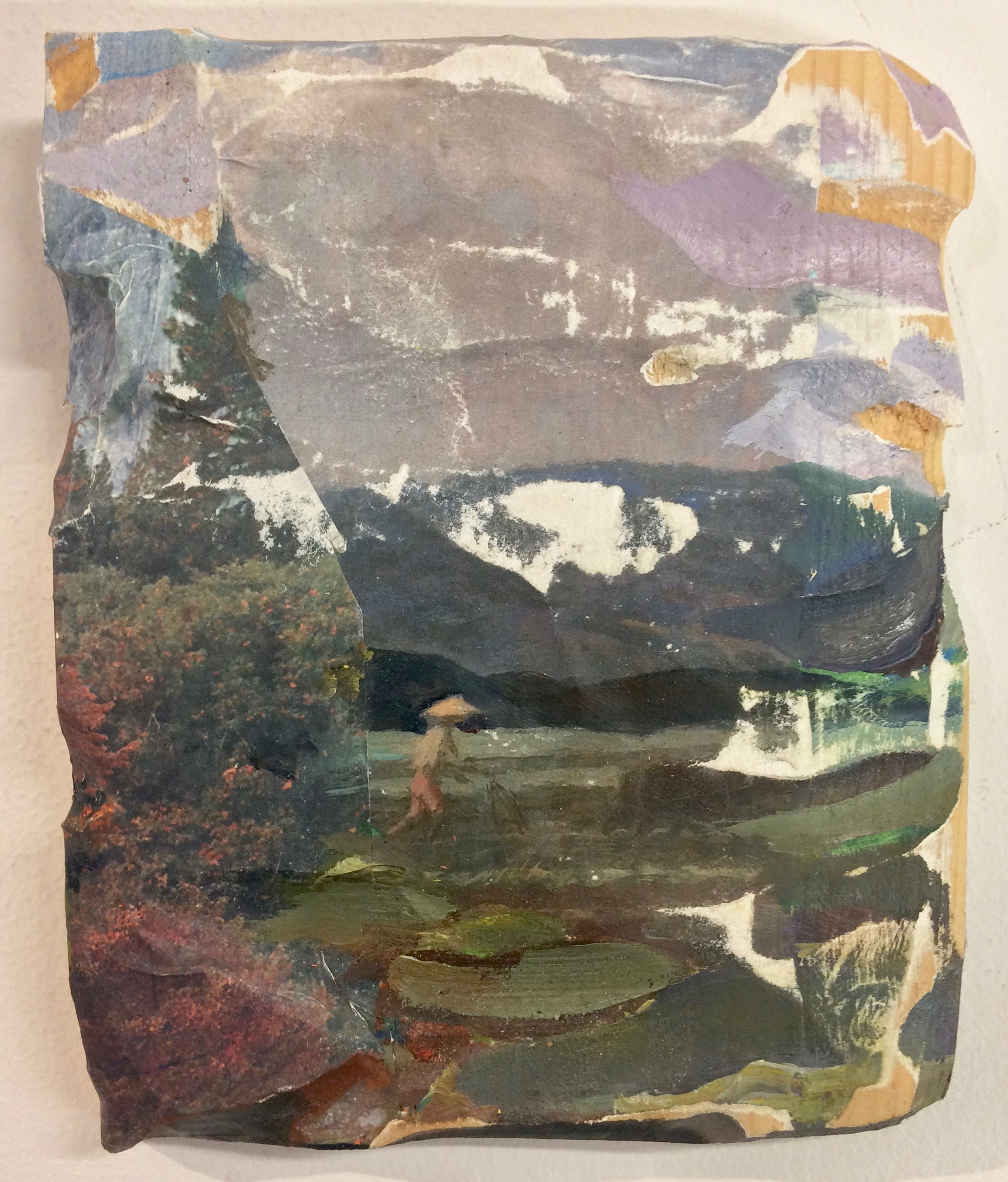 Field , 2016, oil, Fernando Amorsolo postcard and nature calendars on carved wood,8 x 6 inches