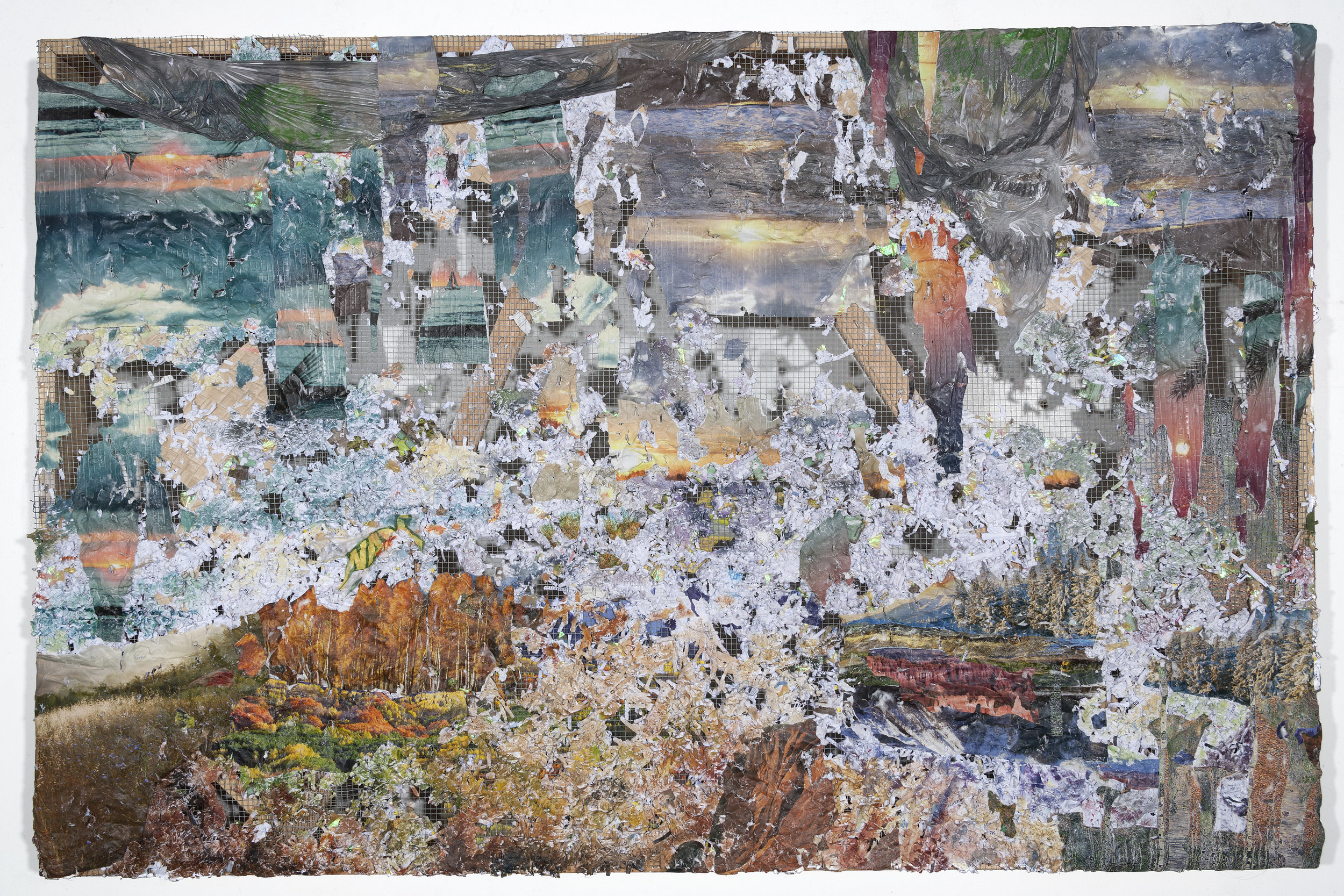 How Do I Raise the Ground Where I Land , 2017,Medical records, Banig print wallpaper, puzzle pieces, nature calendars, Dollar Tree and Subway bag, acrylic and oil on chicken wire and wood, 38 x 60 x 4 inches