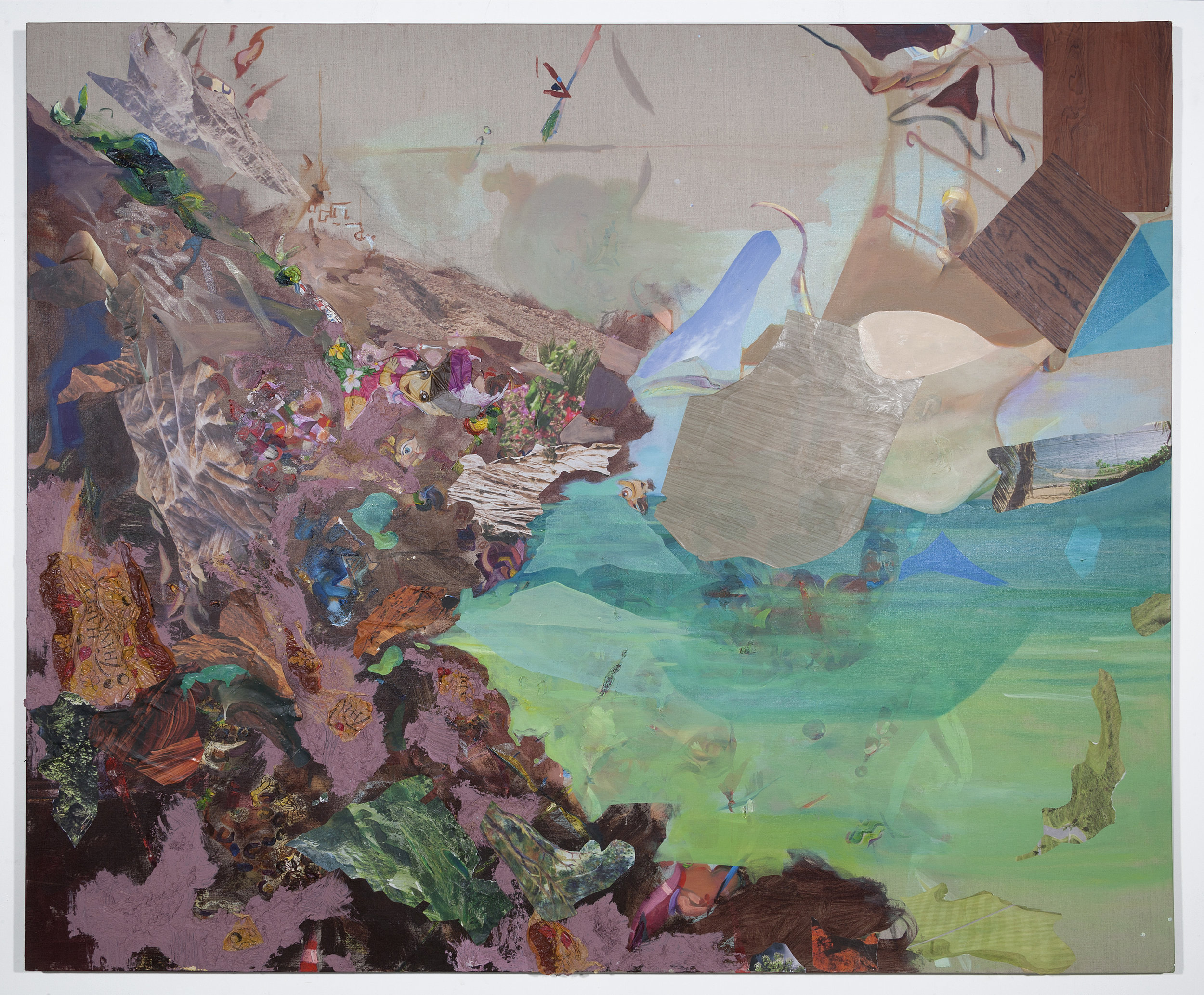 Between Earth and Sea , 2016, oil, acrylic,sand, nature calendars, Thanksgiving tablecloth, Dora the Explorer tablecloth, faux wood drawer liner on linen,60 x 72 x 2 inches