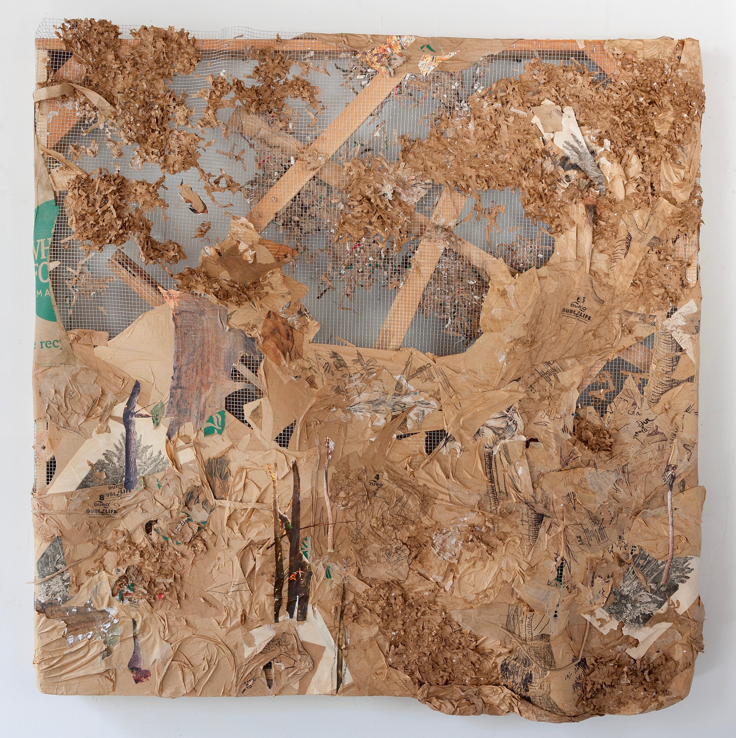 DURO DUBL LIFE , 2017, Duro Dubl Life brand paper bags, artist's old life drawings, 19th century engraving, nature calendars, and pen on chicken wire and wooden painting stretchers, 48 x 48 inches