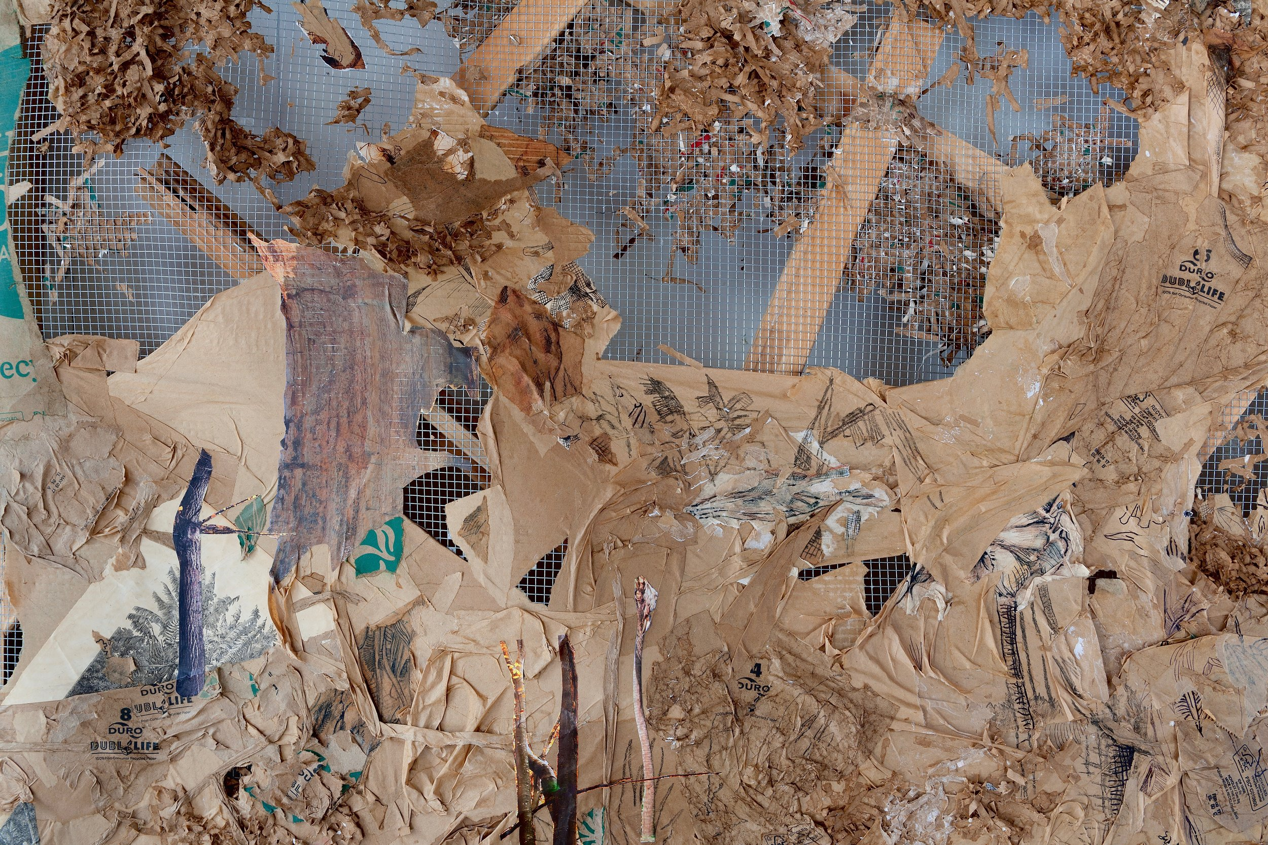 DURO DUBL LIFE  (detail),2017, Duro Dubl Life brand paper bags, artist's old life drawings, 19th century engraving, nature calendars, and pen on chicken wire and wooden painting stretchers, 48 x 48 inches