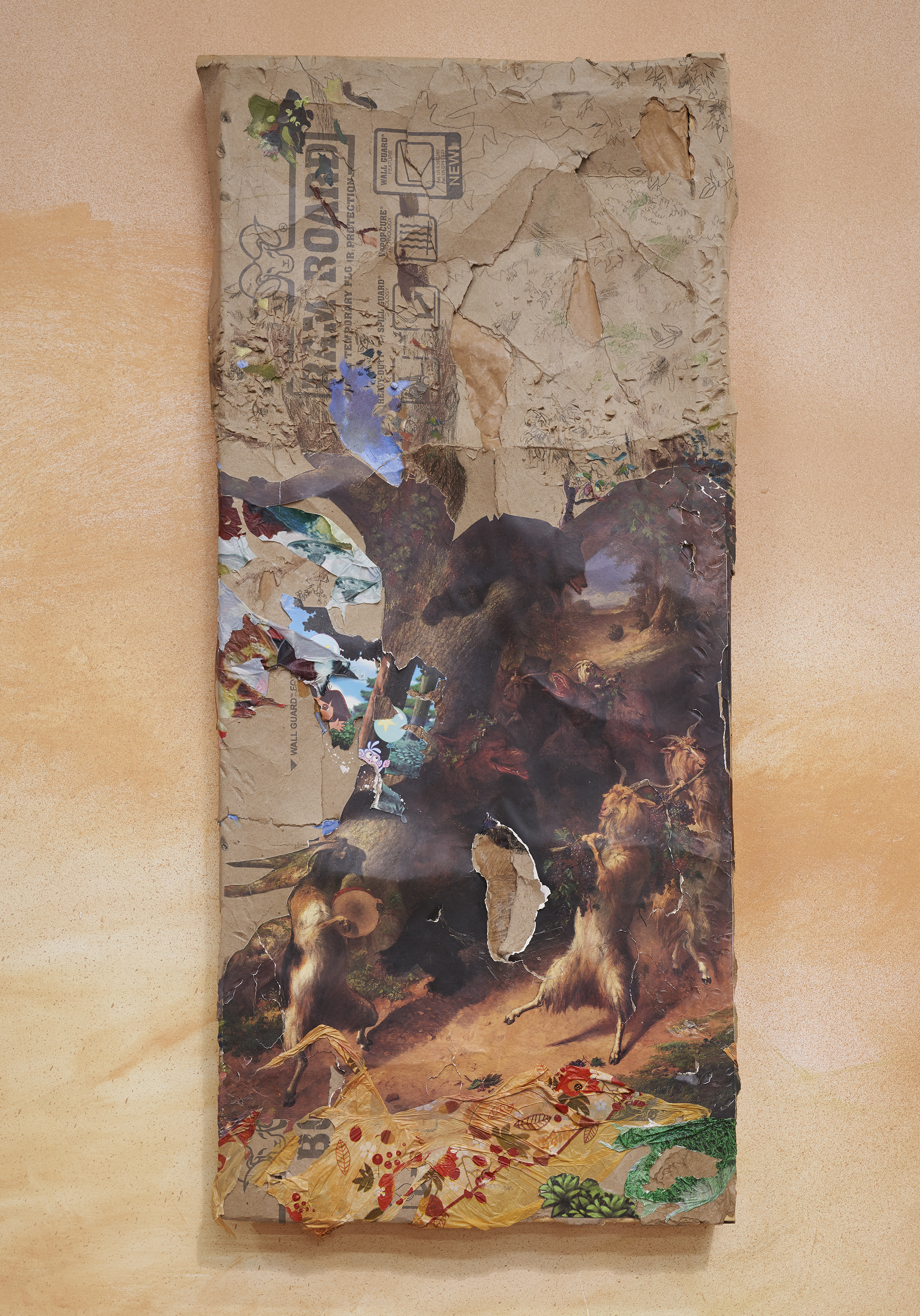 Blows From Boughs , 2018 Ramboard, Dora the Explorer party banner, Thanksgiving tablecloth, Super Bowl tablecloth, William Holbrook Beard's March of Sylinius Gift Shop Poster, oil, and graphite on wood 47 x 21 x 4 inches