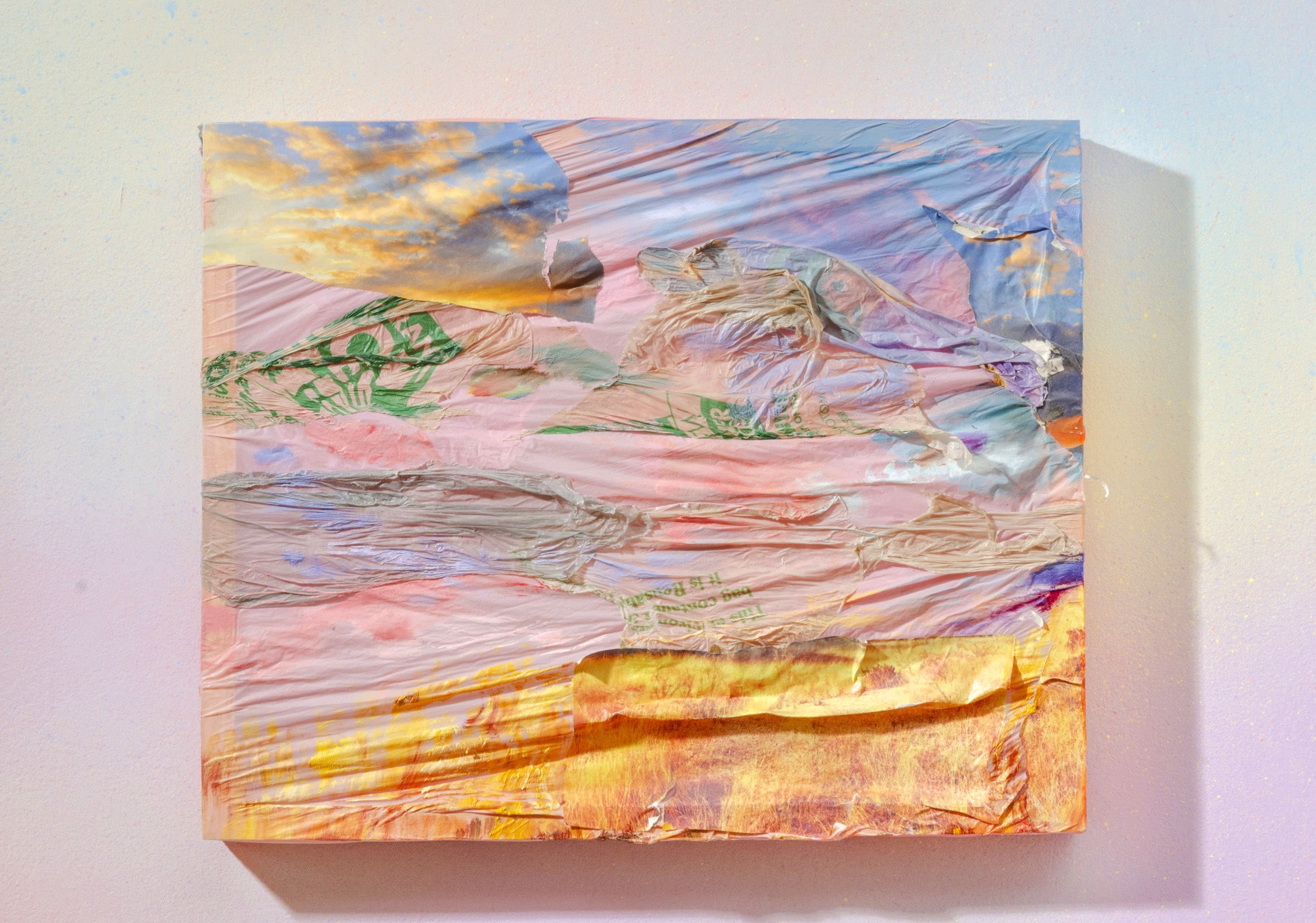 """Sunset over Wave Hill, Oil, Disney """"Fairies"""", 2018, tablecloth, nature calendars, Home Depot bag on wood frame.  (from Las Américas (en el hogar) / Americas (in the hearth)) , Wave Hill. Image: Stefan Hagen. More info  HERE"""
