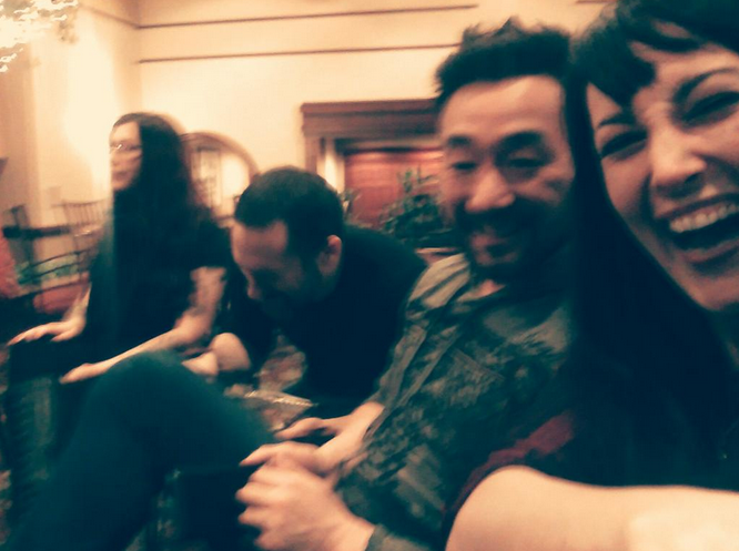 At the ConFusion 2015 bar with authors Wes Chu and Myke Cole, with bonus Mallory O'Meara.