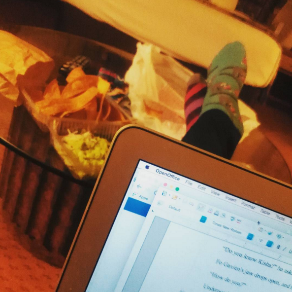 Also: Party Sloth socks, pajama pants, a huge vat of guacamole, and my beloved MacBook Air.