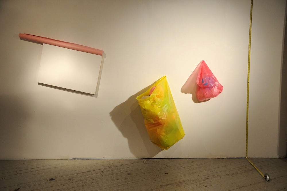 "The Meaning of Shape: Time vs Distance   2011  wood panel, paper, plastic bag, balloon, measuring tape  120"" x 144"" x 24"""