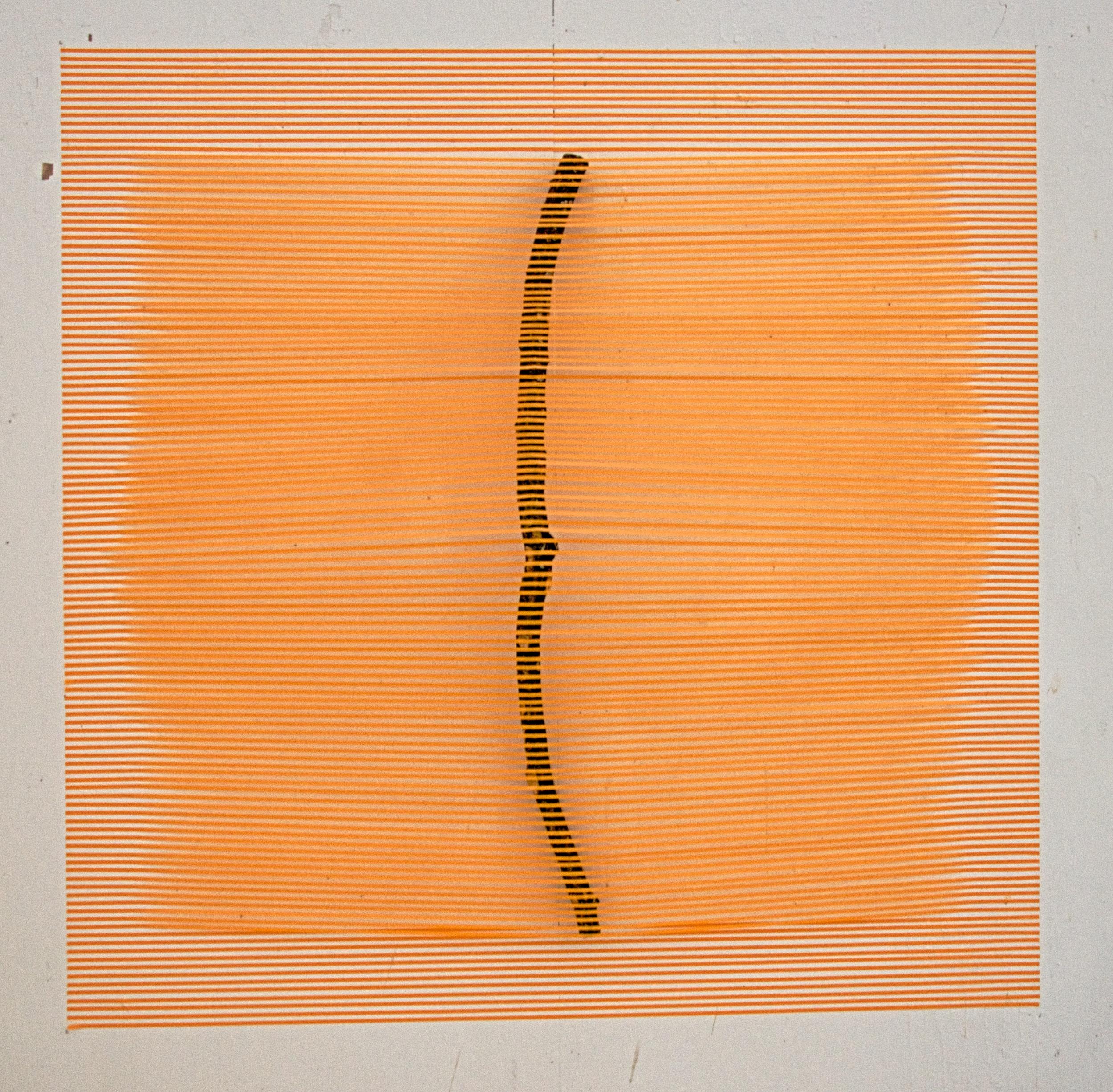 """Orange Stick   2015  paper tape and stick  60"""" x 60"""""""