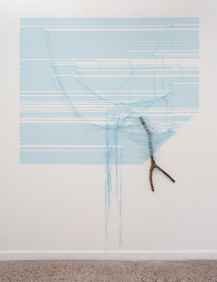 "Blue Stick      (39.4268 ° N,  94.5341 ° W)   2017  masking  tape,  found  stick  120"" x  96"" x  8"""
