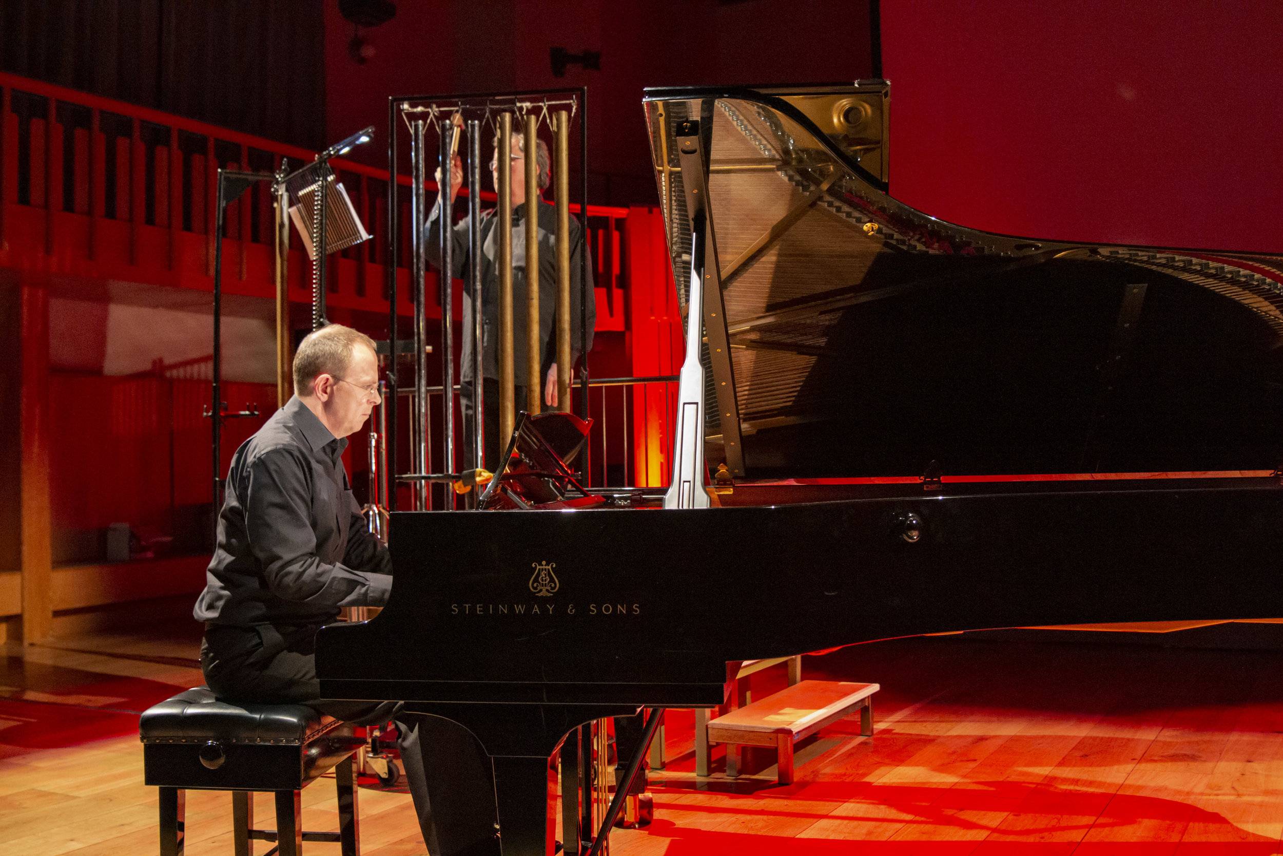 Ian Buckle (Piano) & Christopher Bradley (Chimes) perform  body split and hand remains untouched with the exception of itself.  29 January, 2019. Photo Credit: Opera North