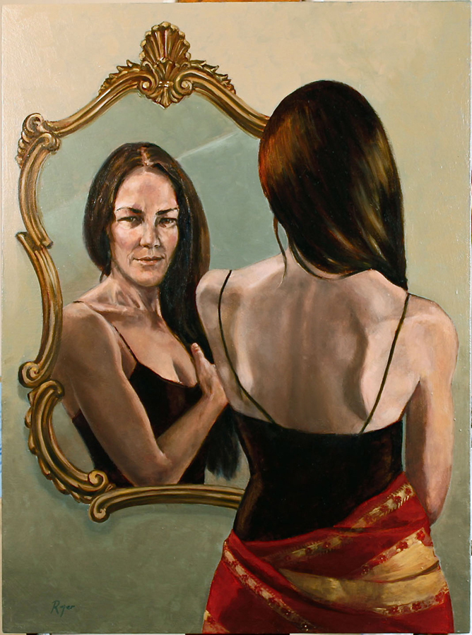 Nancy reflected in the mirror