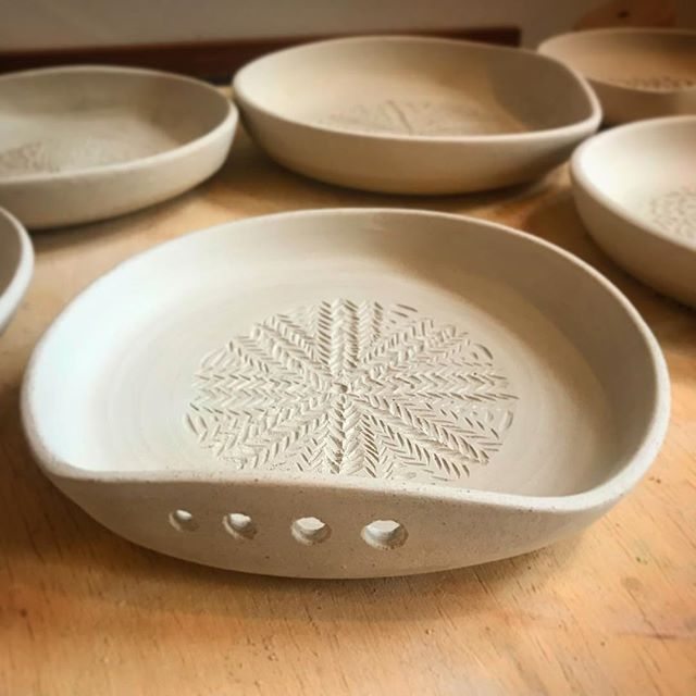 I'm getting so excited for these new garlic graters! I'll be at two craft fairs before Mother's Day starting with #flavorsontheavenue this Sunday!! I can't wait to see y'all out there! For those who don't live in philly, these will be fired and on my website this weekend! #ceramics #pottery #garlicdish #phillymaker #phillypotter #philly #clayisbae #mothersdaygifts #mothersday #spring #kitchen