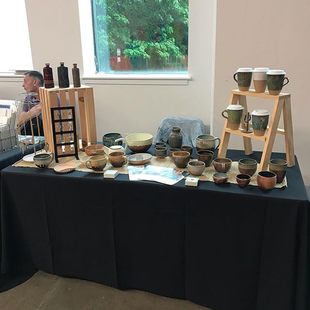 I'm all set up and ready for tonight's Art for the Cash Poor Kickoff party! I'll be back with even more pots on Saturday at Art for the Cash Poor on 10th and Buttonwood! Can't wait to see y'all!!! #ceramics #aftcp #aftcp2019 #phillymade #makersgonnamake #maker #phillymaker #pottery #jewelry
