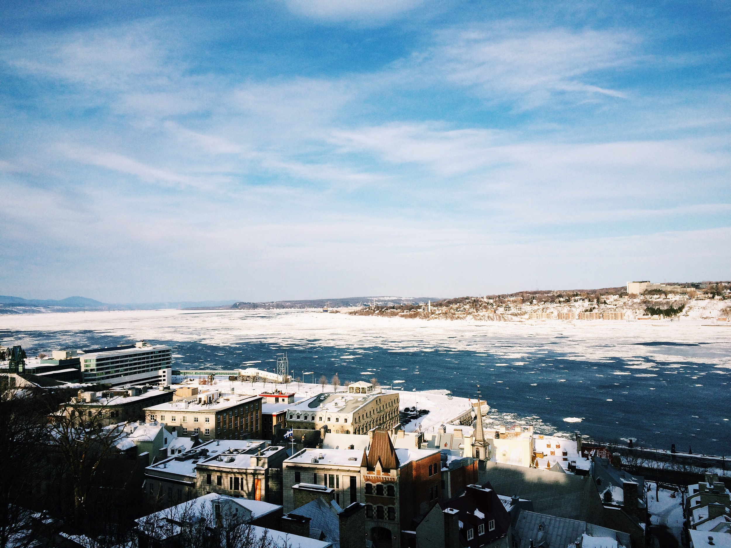 The river across Quebec city looked like a breakaway glacier run with large chucks of ice floating on it even in late March!