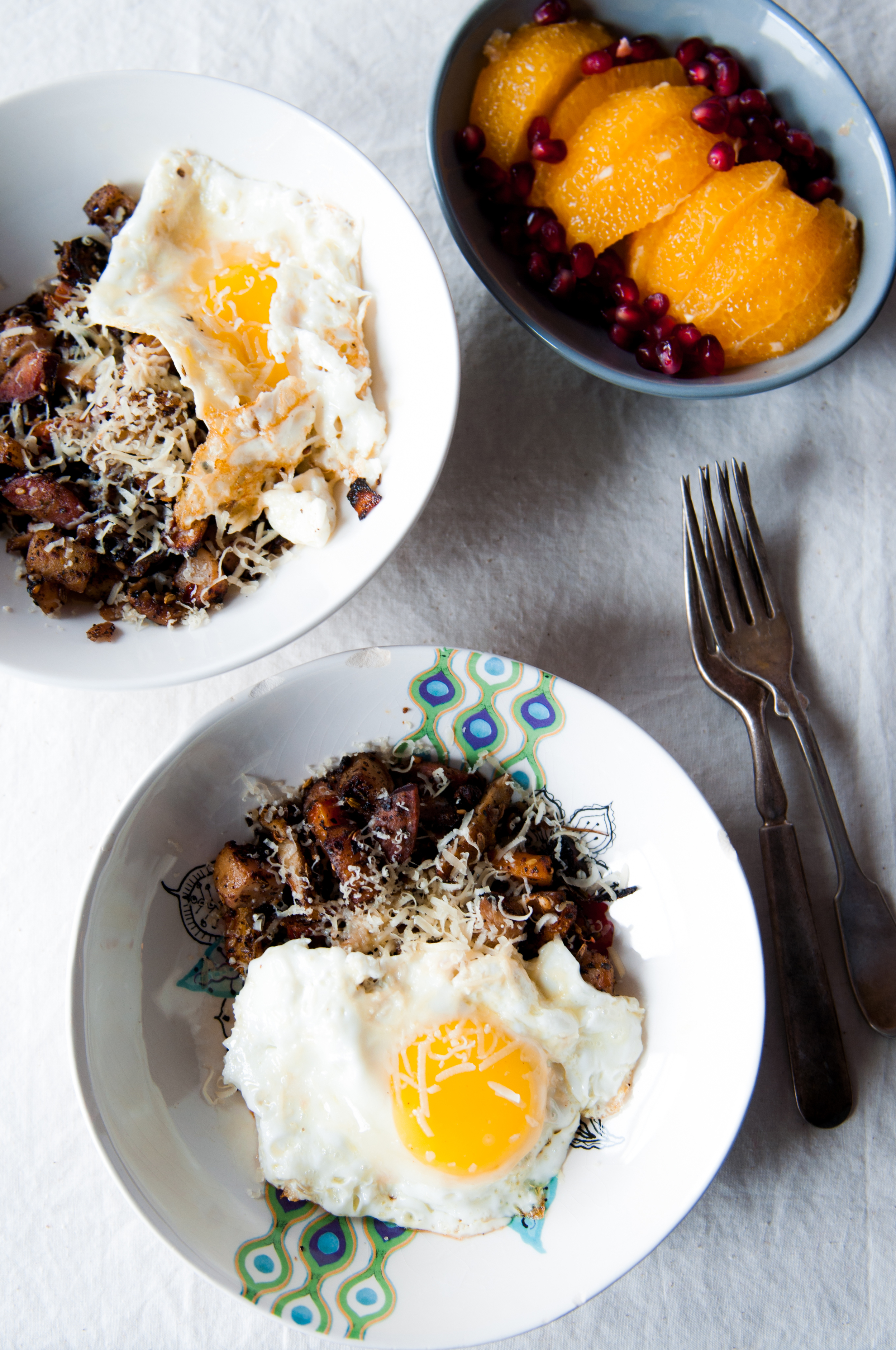 Root vegetable hash and a fried egg sound very simple and it really is a humble dish that masks its delicious guile rather well. As Spring breaks around us, it still makes for a delightful brunch dish and can be made for both cozy mornings or a full blown party. This hash is spiced with Israeli couscous and Lebanese aleppo pepper. Please don't mindmy amateur attempts at world peace! :D