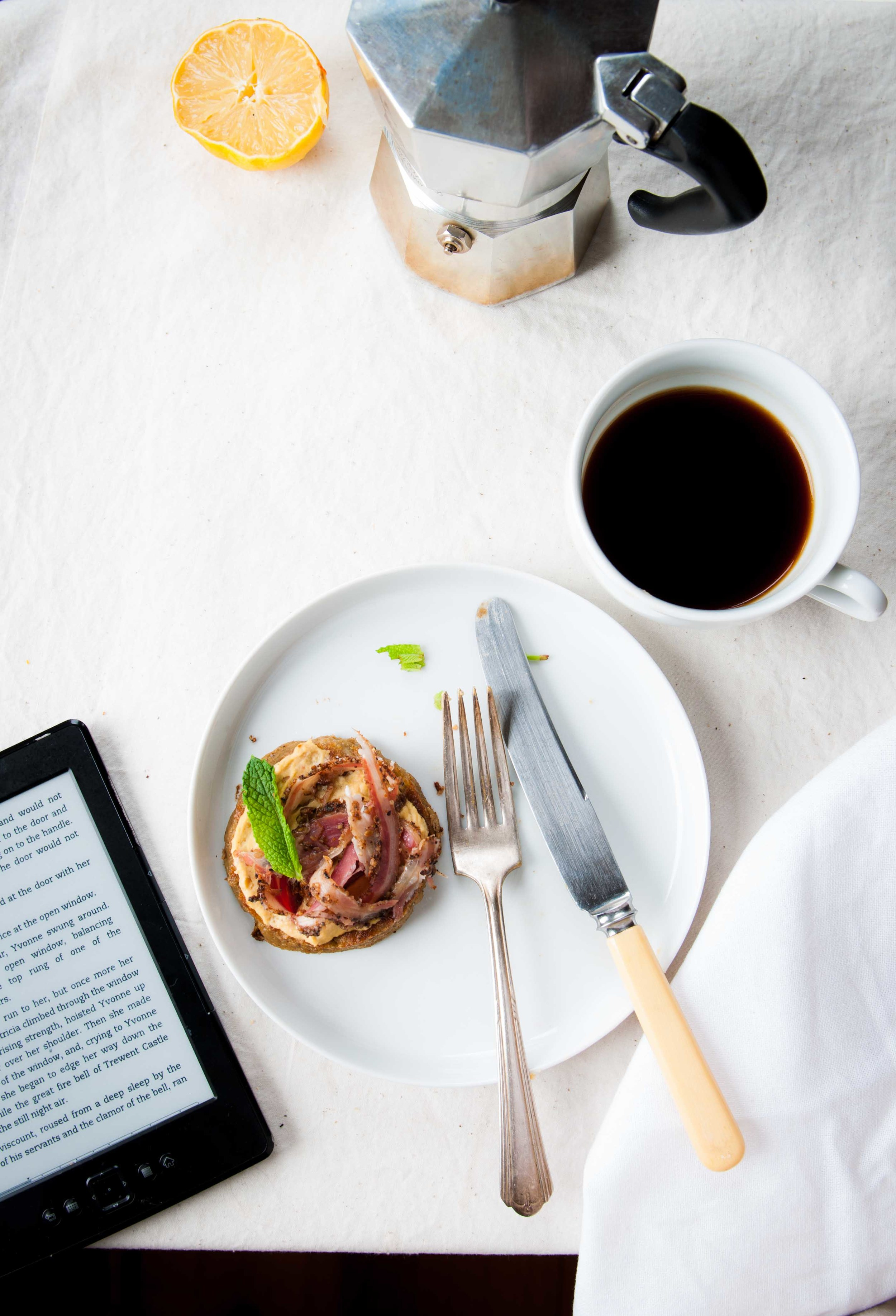 I love a good read with my morning bite! Rice and Sprouted mung bean crumpet tartines with coffee.