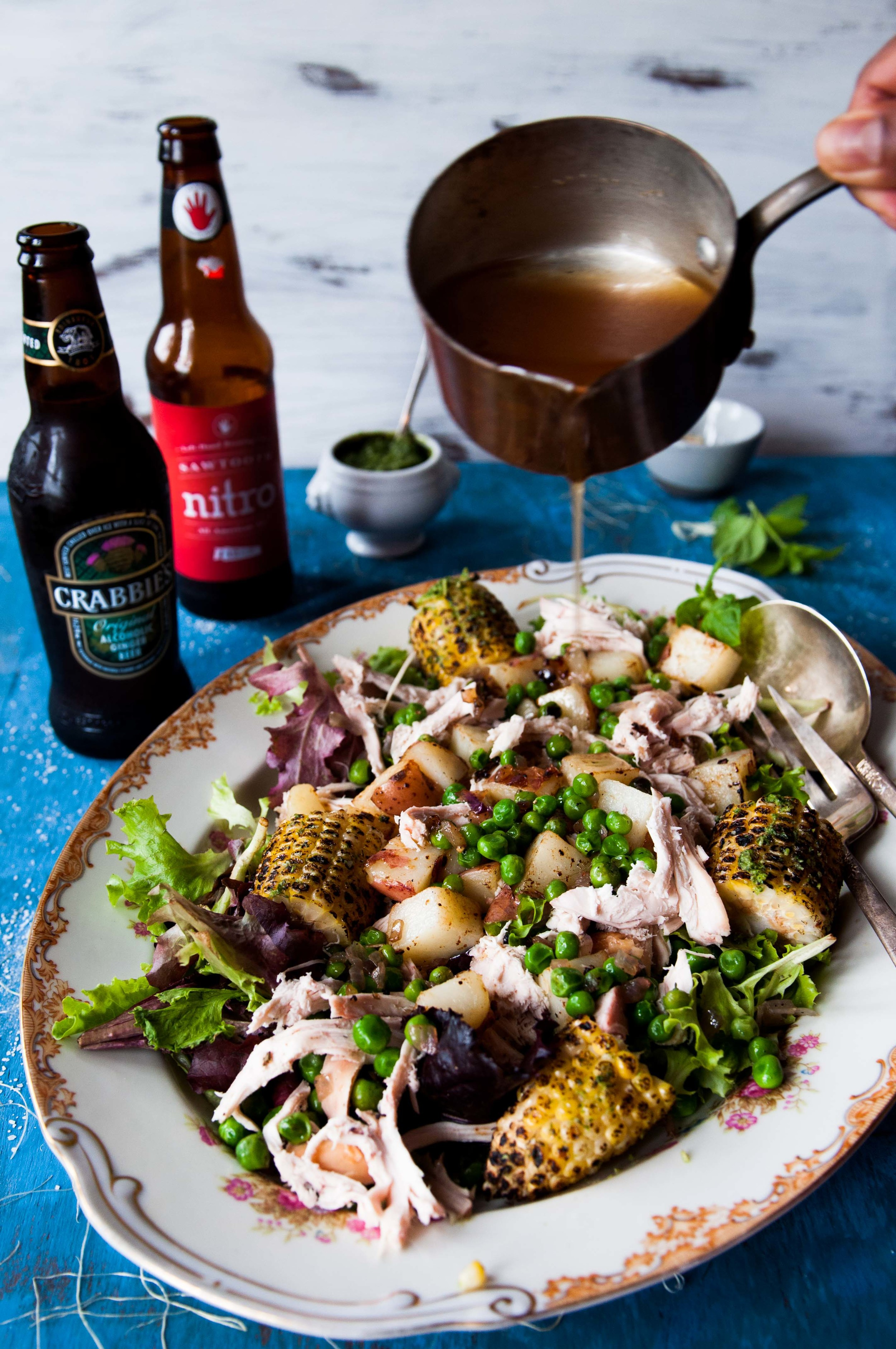 The chicken jus is a wonderful vinaigrette in this Summer Chicken Salad.