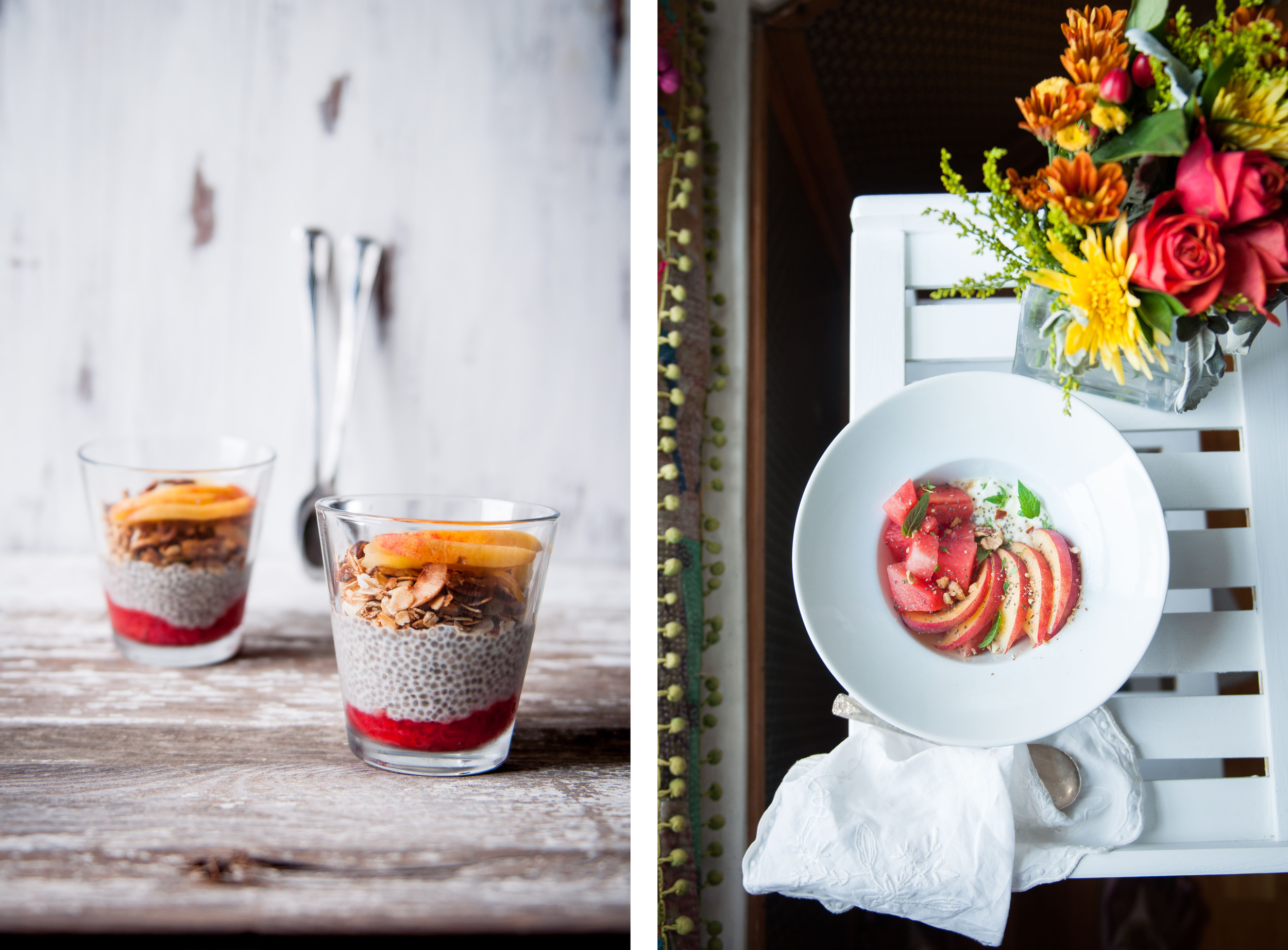 1. Chia-almond milk pudding with Rhubarb and strawberry compote, coconut granola and fresh peach slices | 2.Chia yogurt, watermelon and peach salad, with fresh mint leaves