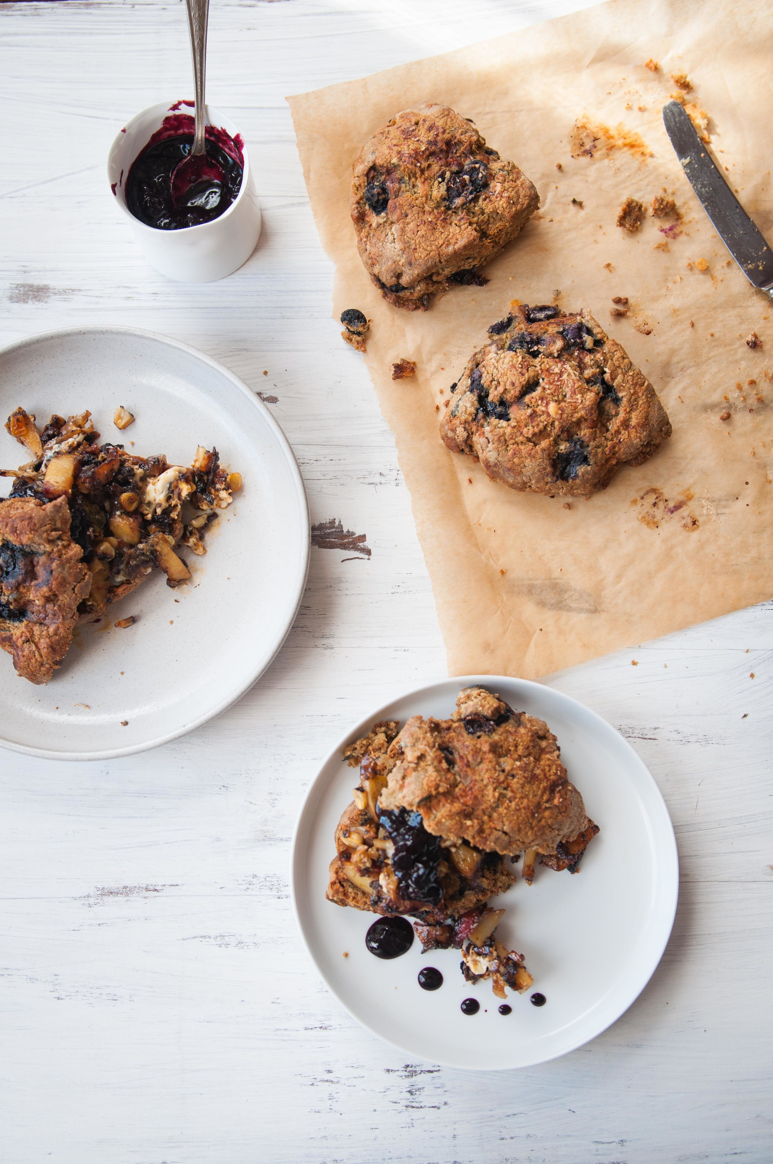 Gluten free blueberry scones are perfect for a Holiday brunch with blood pudding hash and fried egg.