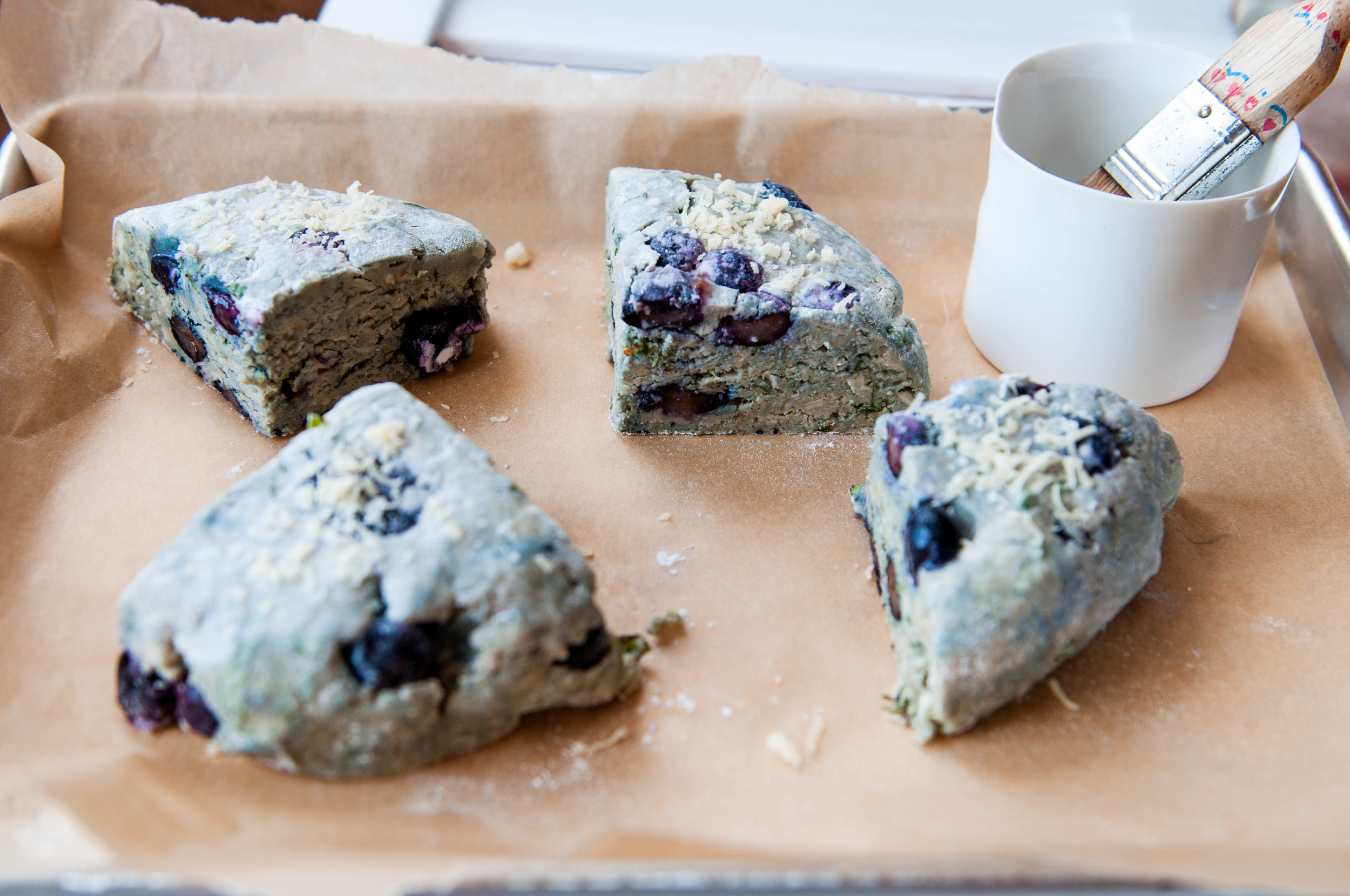 Blueberry, Basil and Cheddar Savory Gluten Free Scones