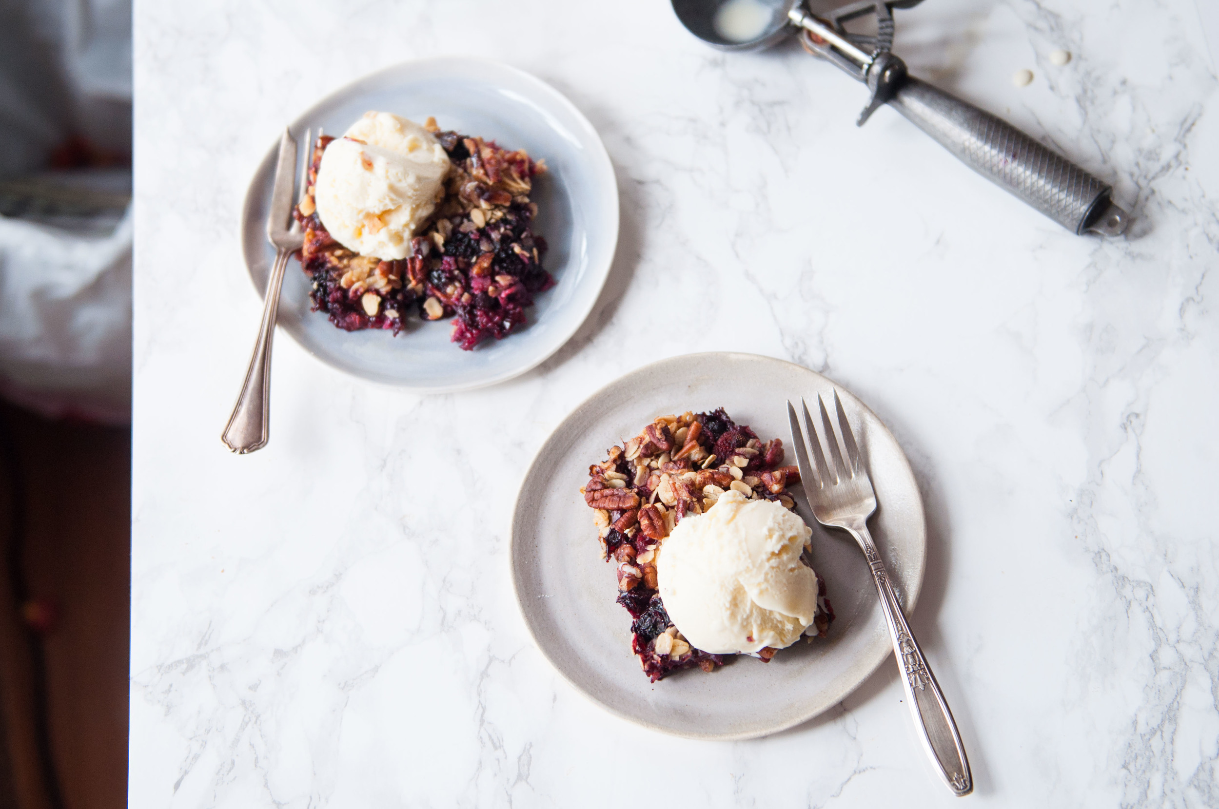 Mixed Berry Crumble with an Oat and Pecan Topping. Sweetened with honey.