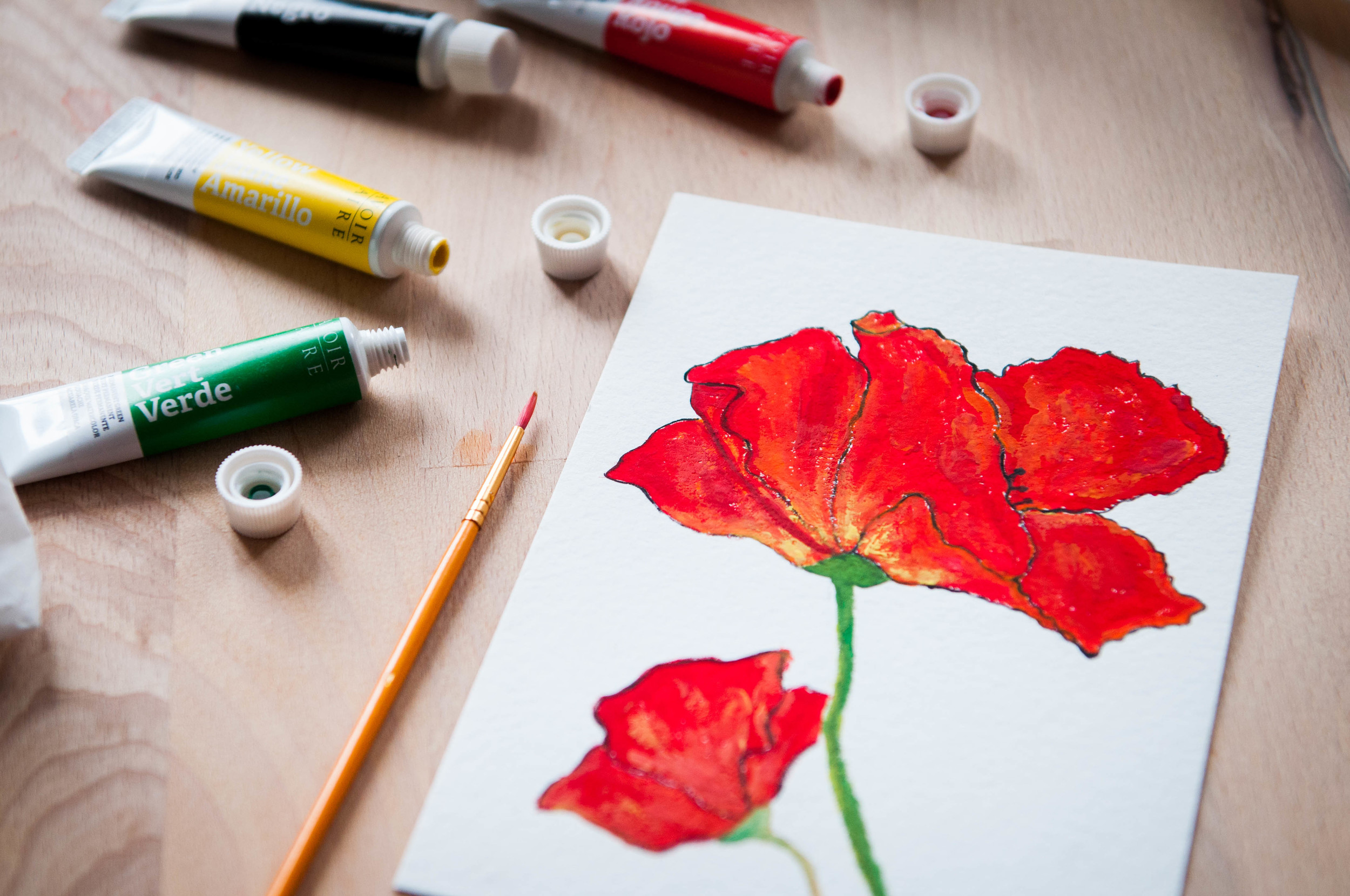 My 30s attempt at coloring... Poppies are one of my favorite flowers for their vibrant jauntiness!