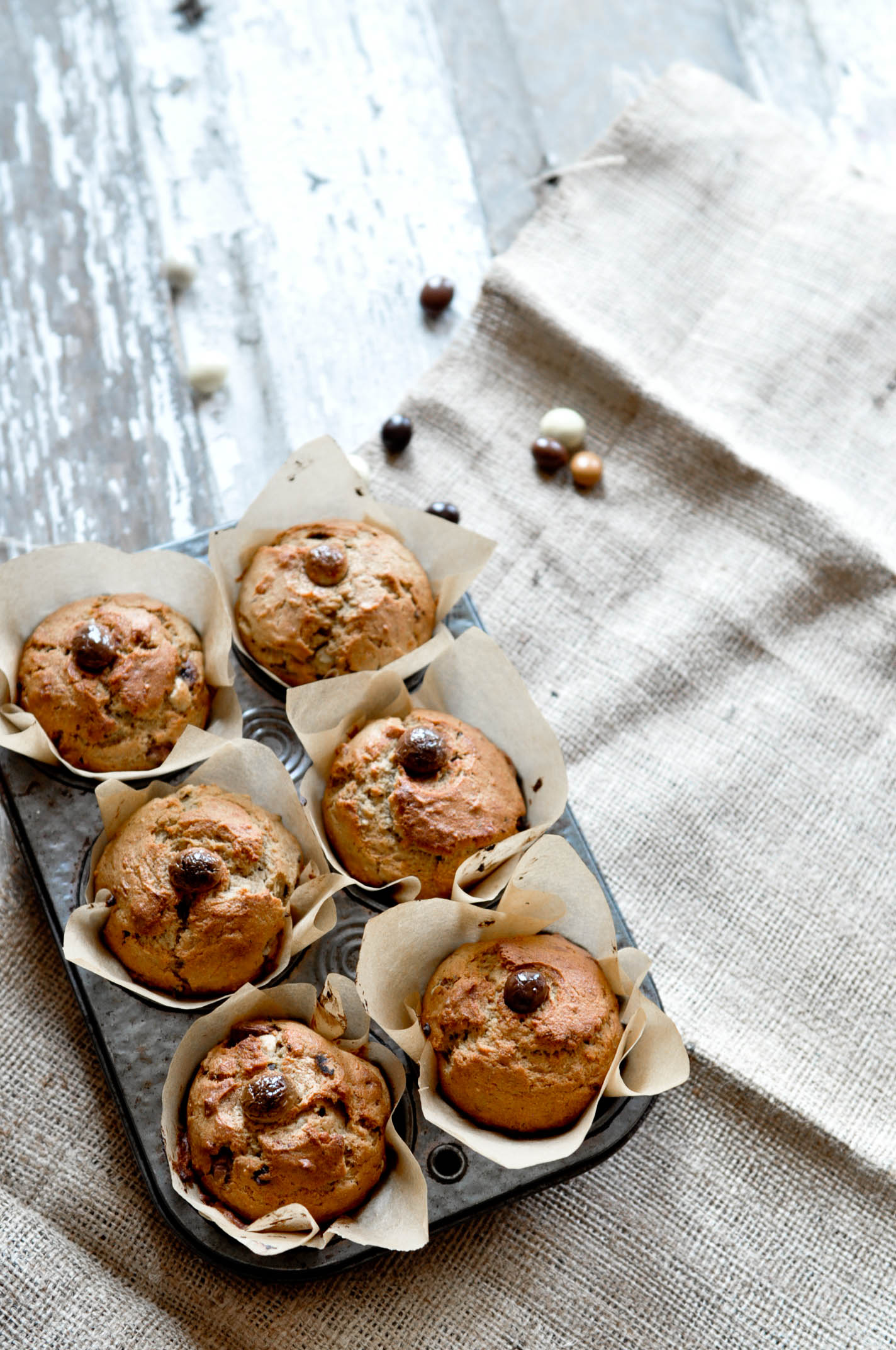 BANANA + PEANUT BUTTER BREAKFAST MUFFINS