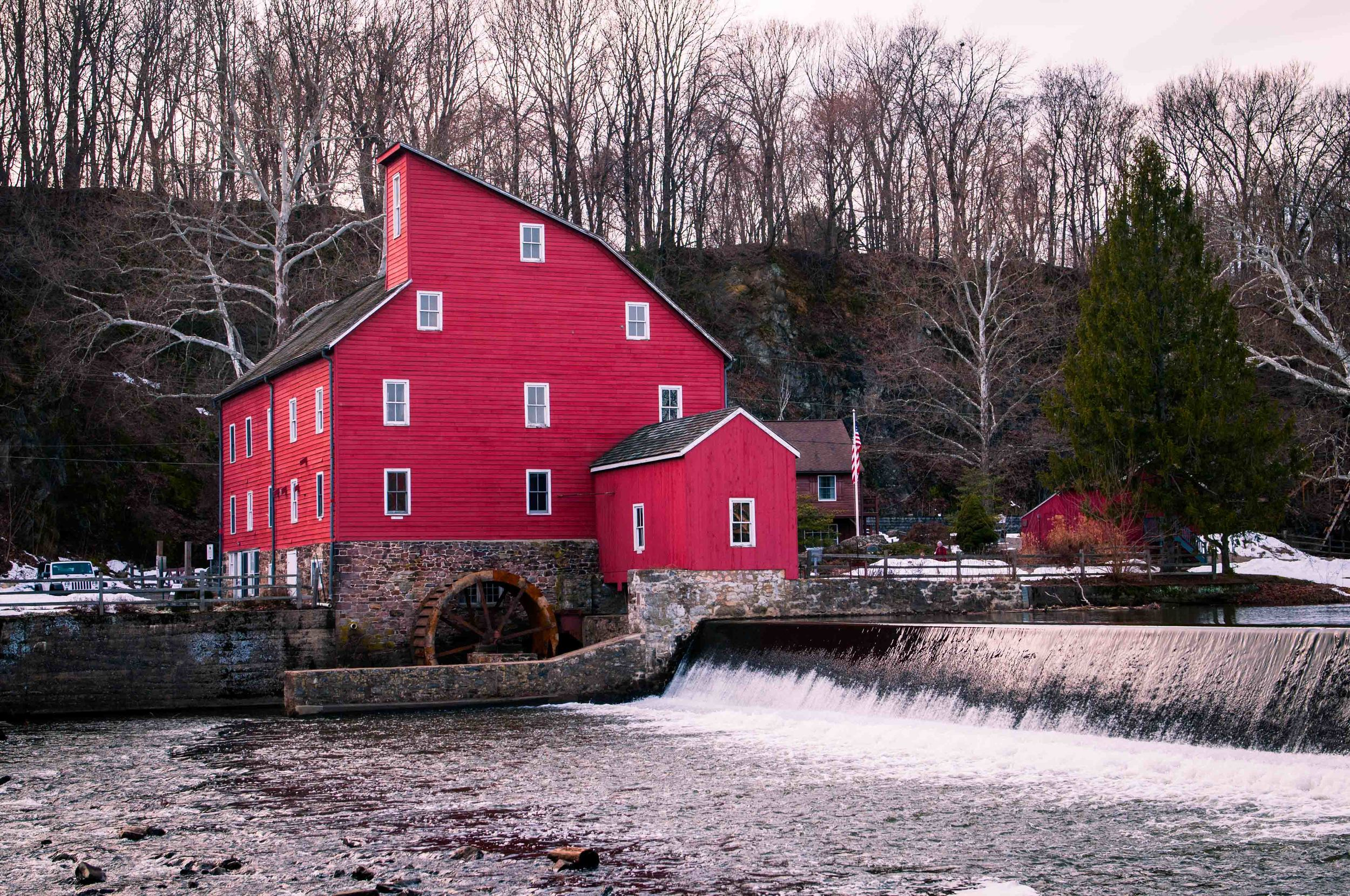 The very red Red Mill barn in Clinton, NJ shot on a cold winter sunset...