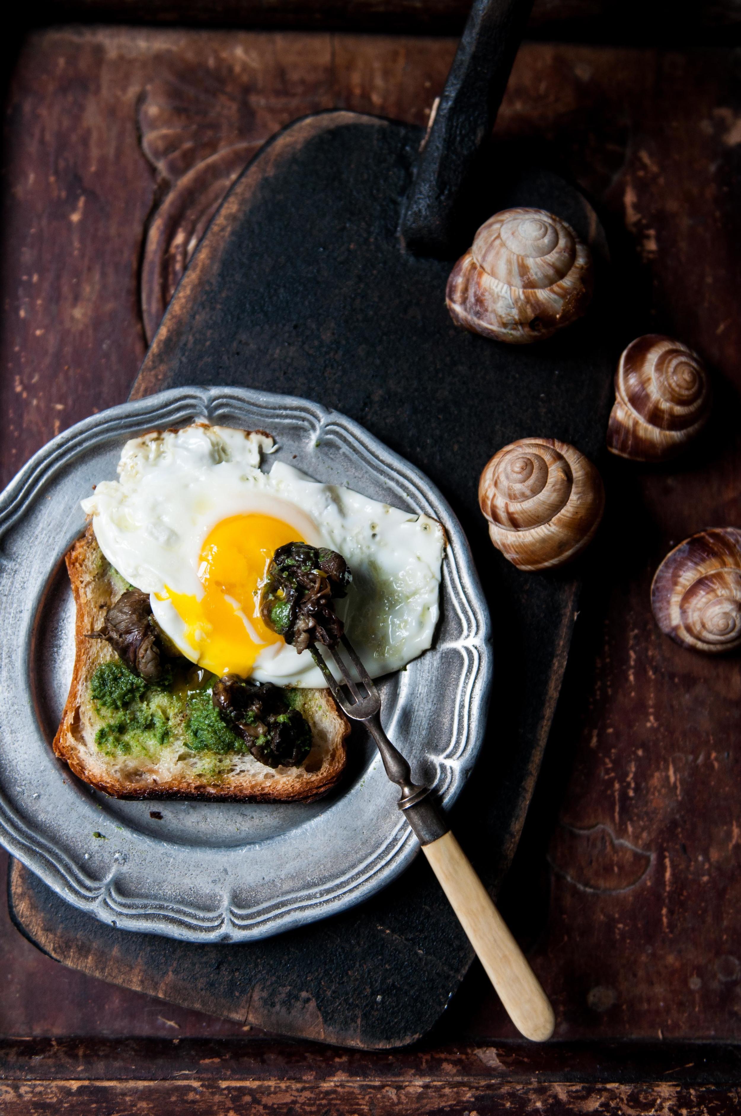 Escargots on Toast + Dipped in Fried Egg Yolk #PutAnEggOnIt