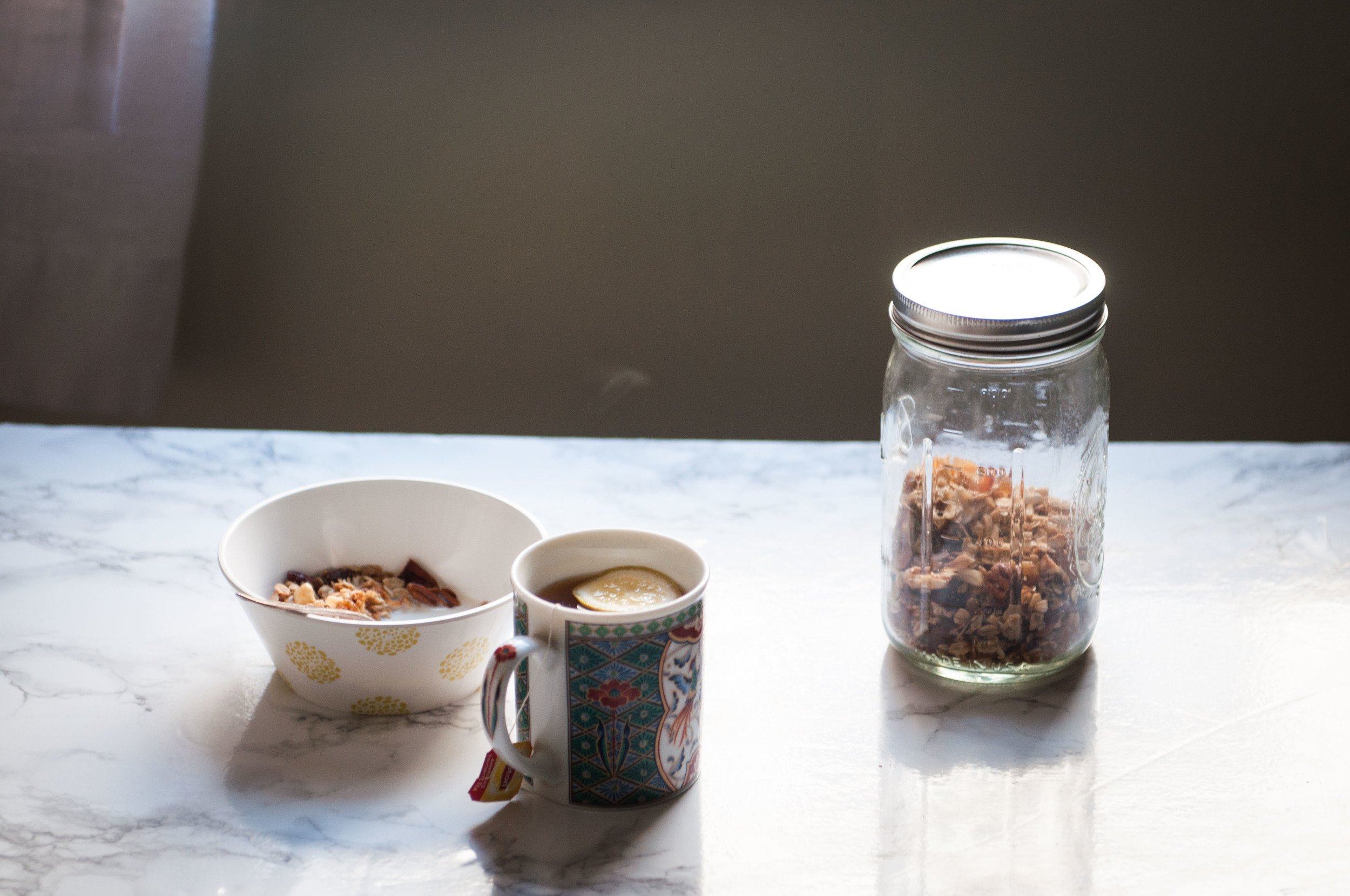 The morning light is magical and a bowl of granola and hot cuppa while looking out the window into the bursting garden (and neighbors mornings!) is perfect for making plans and dreaming...