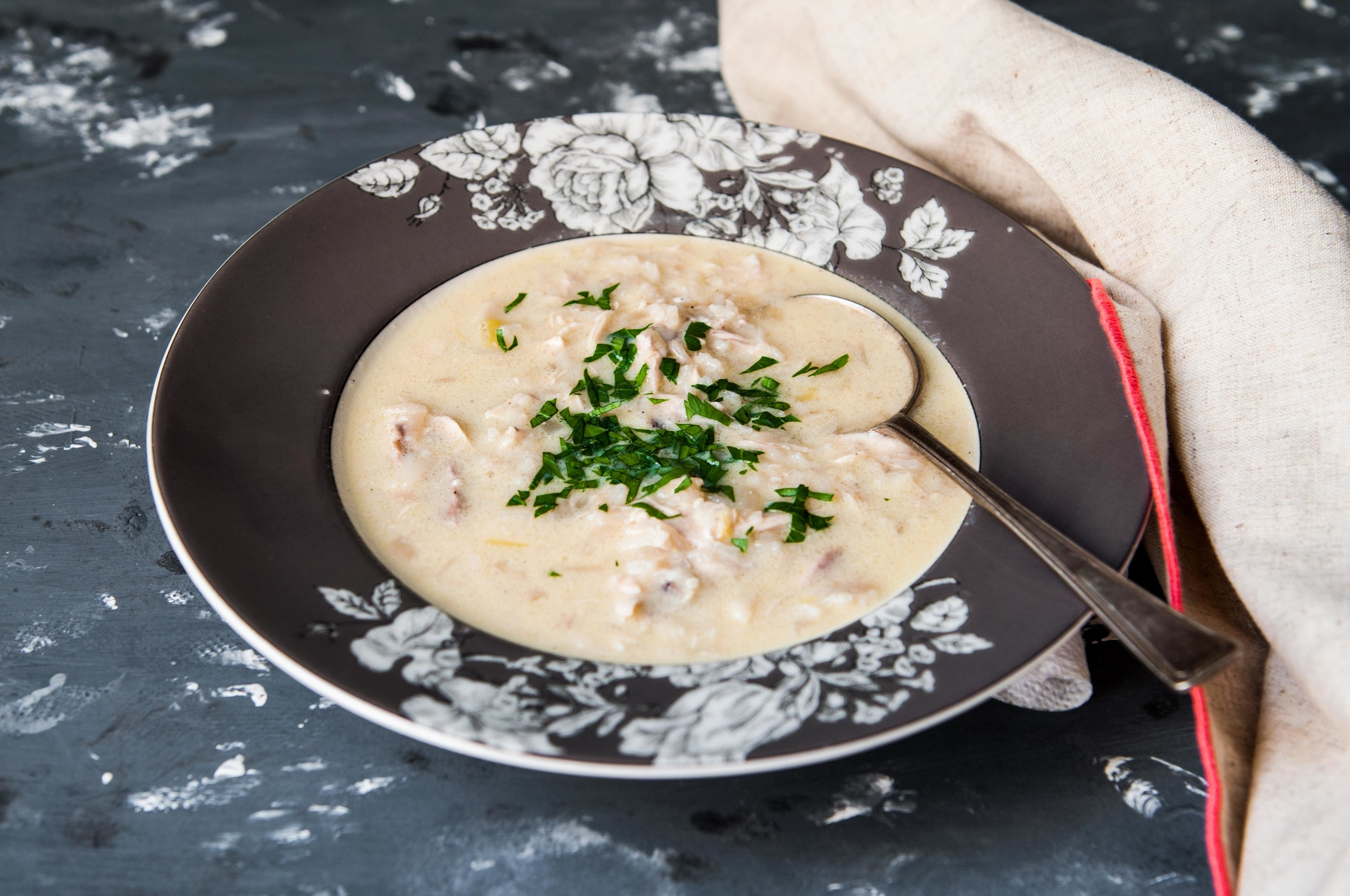 Avgolemeno ( Greek Chicken Soup with Egg-Lemon Sauce)