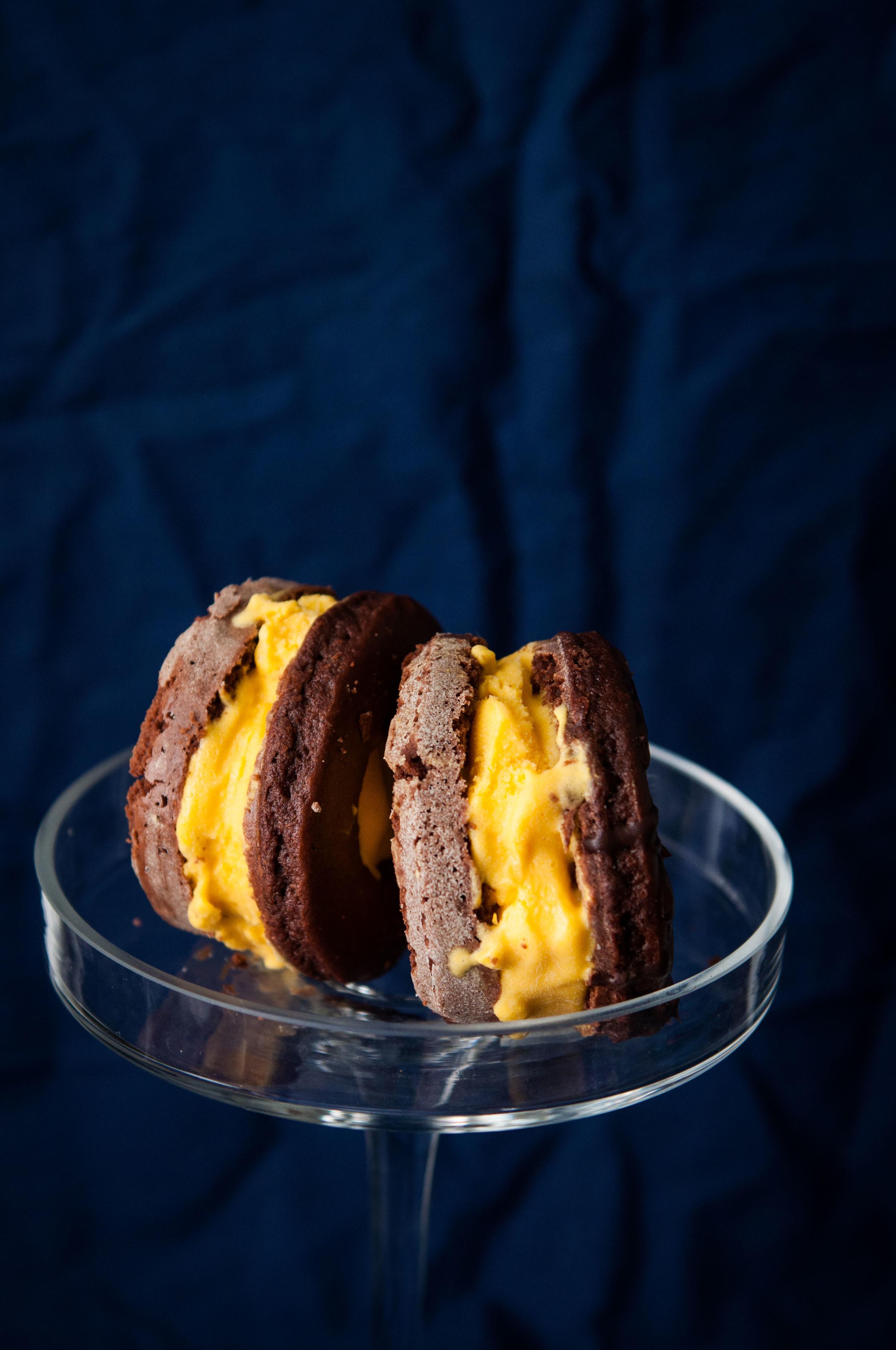 Mango Ice Cream Cake Sandwiches