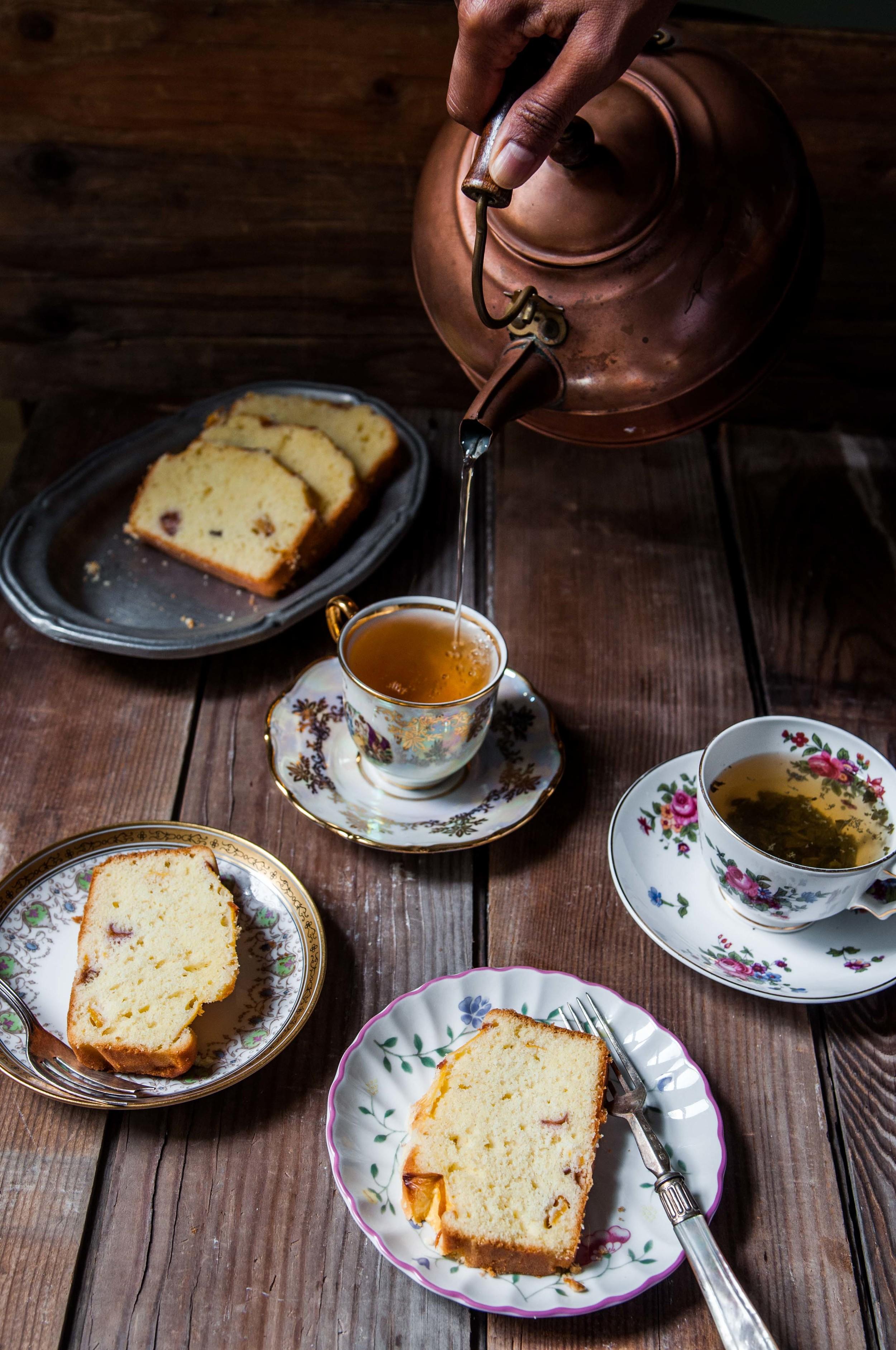 Gluten Free Peach Pound Cake with Tea