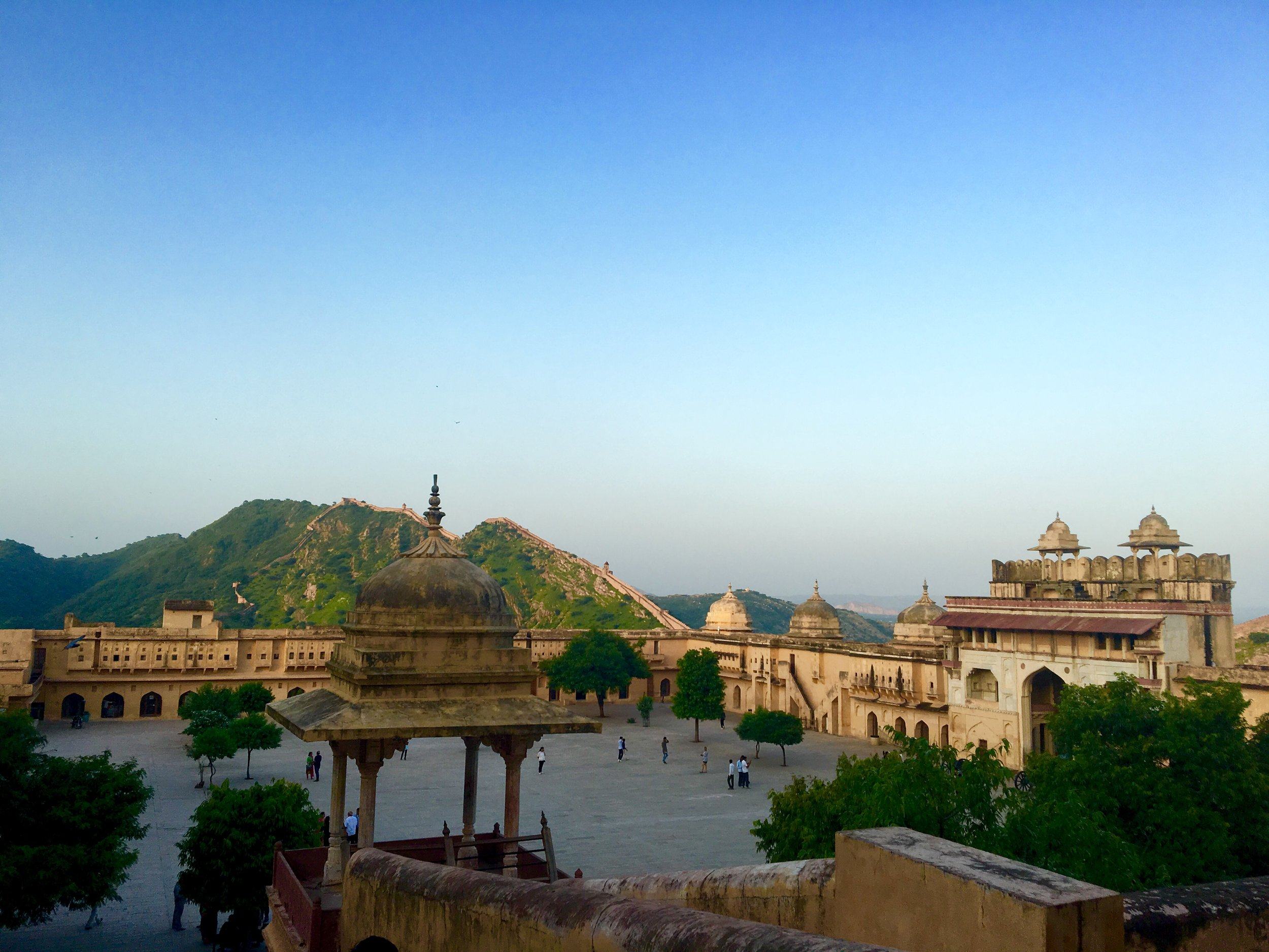The dominant structure of the history of the city, Amer Fort/Amber Palace is a adjoined to Jaigarh Fort, both built on the hills around Jaipur and providing a panoramic view of the city and any one coming in. This then was the military seat of the Maharaja of Rajasthan.