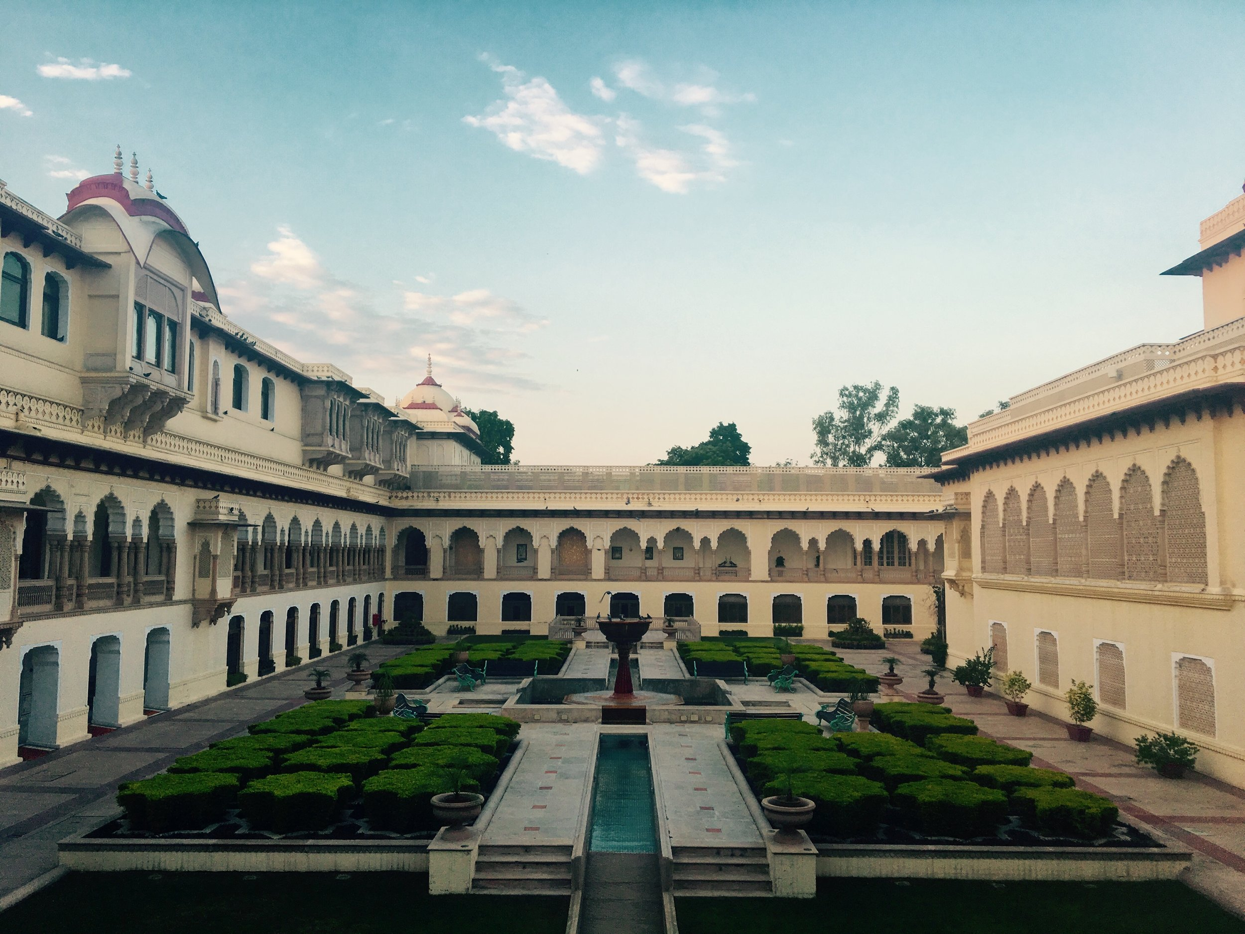 The seat of the Maharaja, Rambagh Palace is now converted into a Luxury Hotel run by the Taj Group. Within is an oasis and absolute serenity, a cocoon away from the burgeoning city outside!