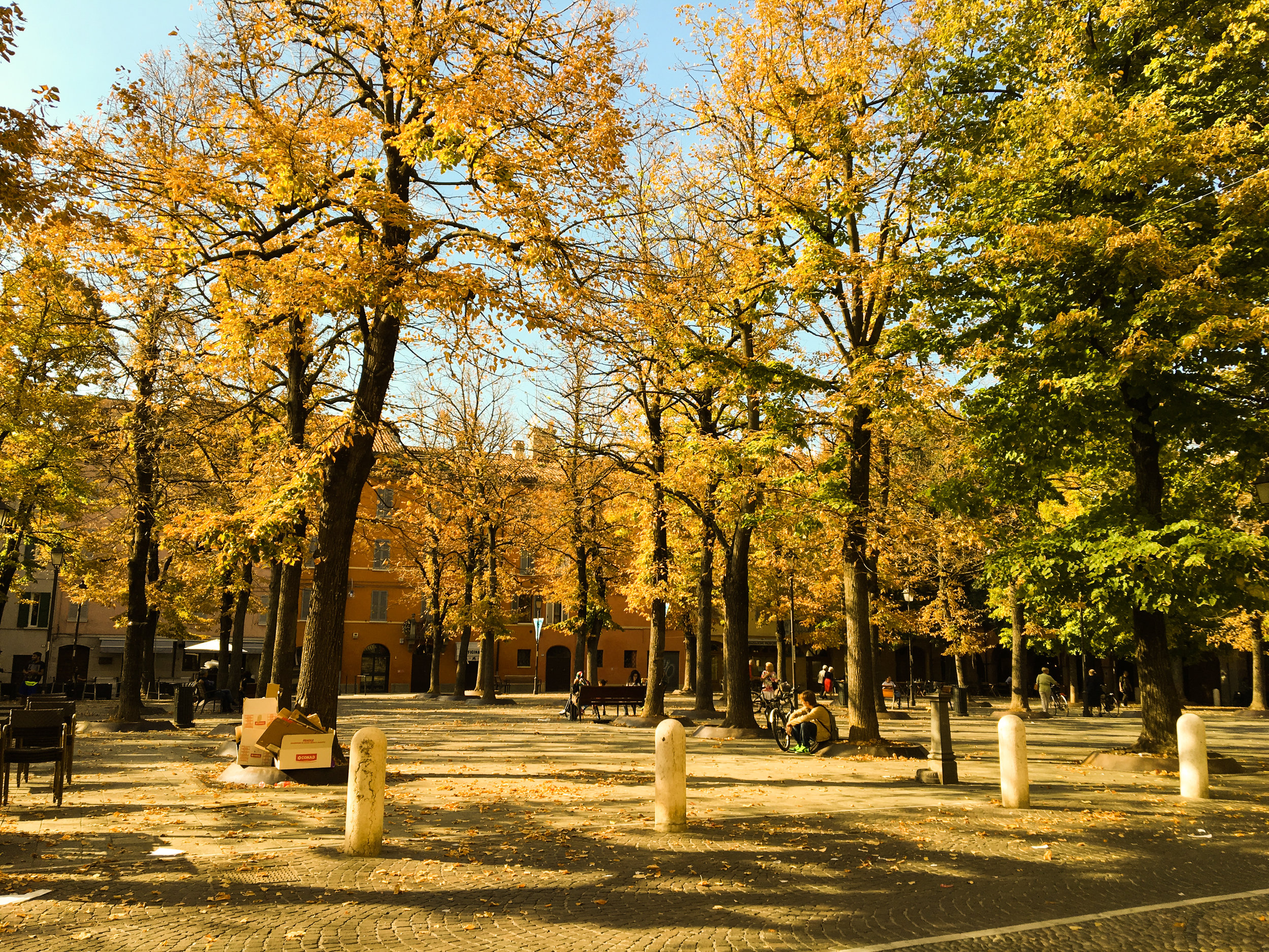 The beautiful Piazza Fontanesi on a gorgeous weekend with the leaves just turning!