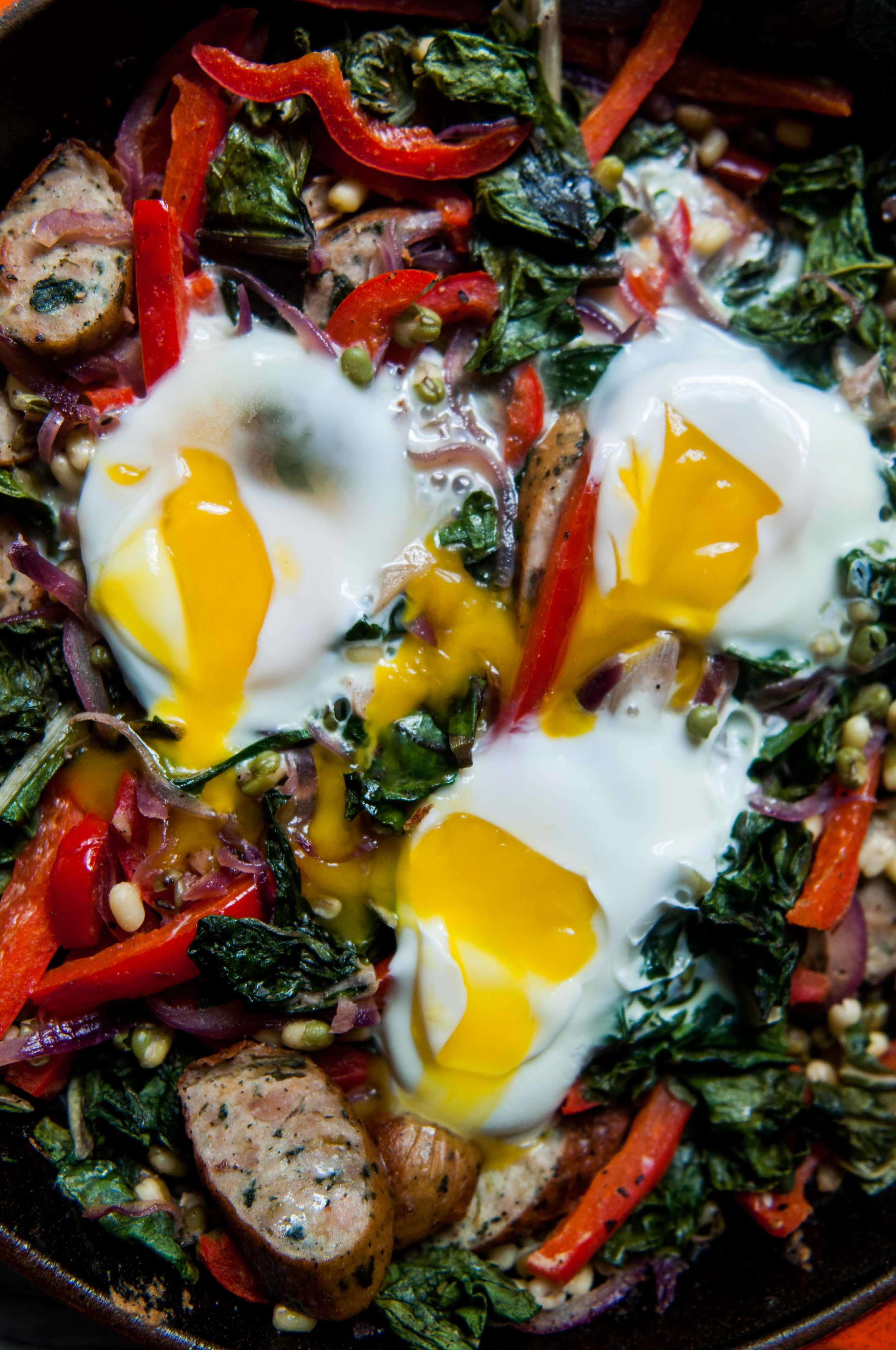 sausage, peppers, greens and sprouts hash